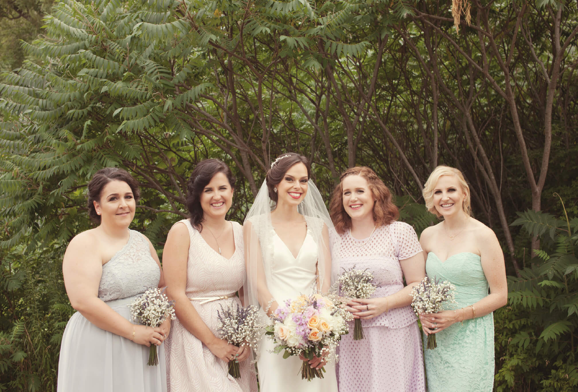 bride and bridesmaids mixed match dresses