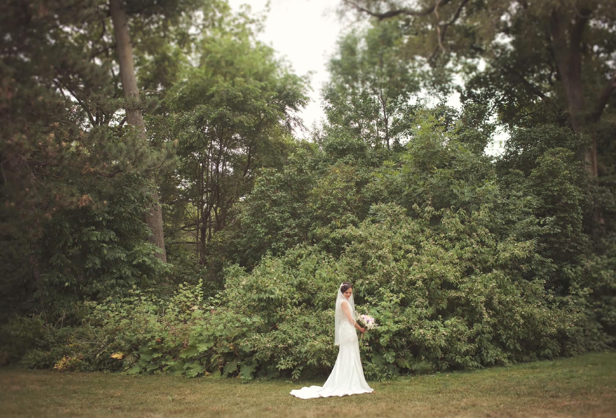 big forest background bride