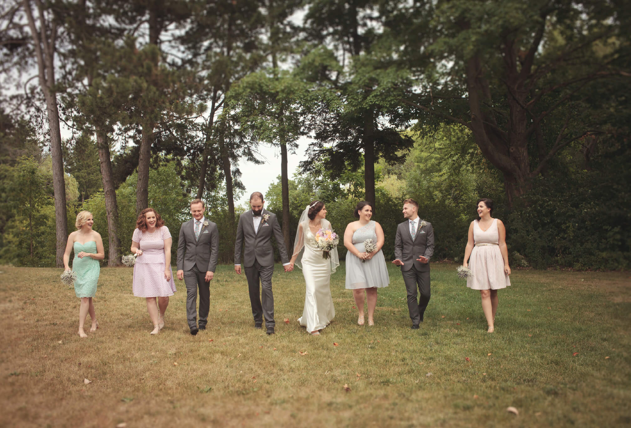 mix matched bridal party harding estate