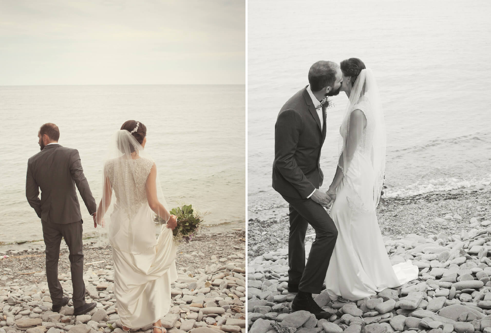 bride and groom at mississagua waterfront