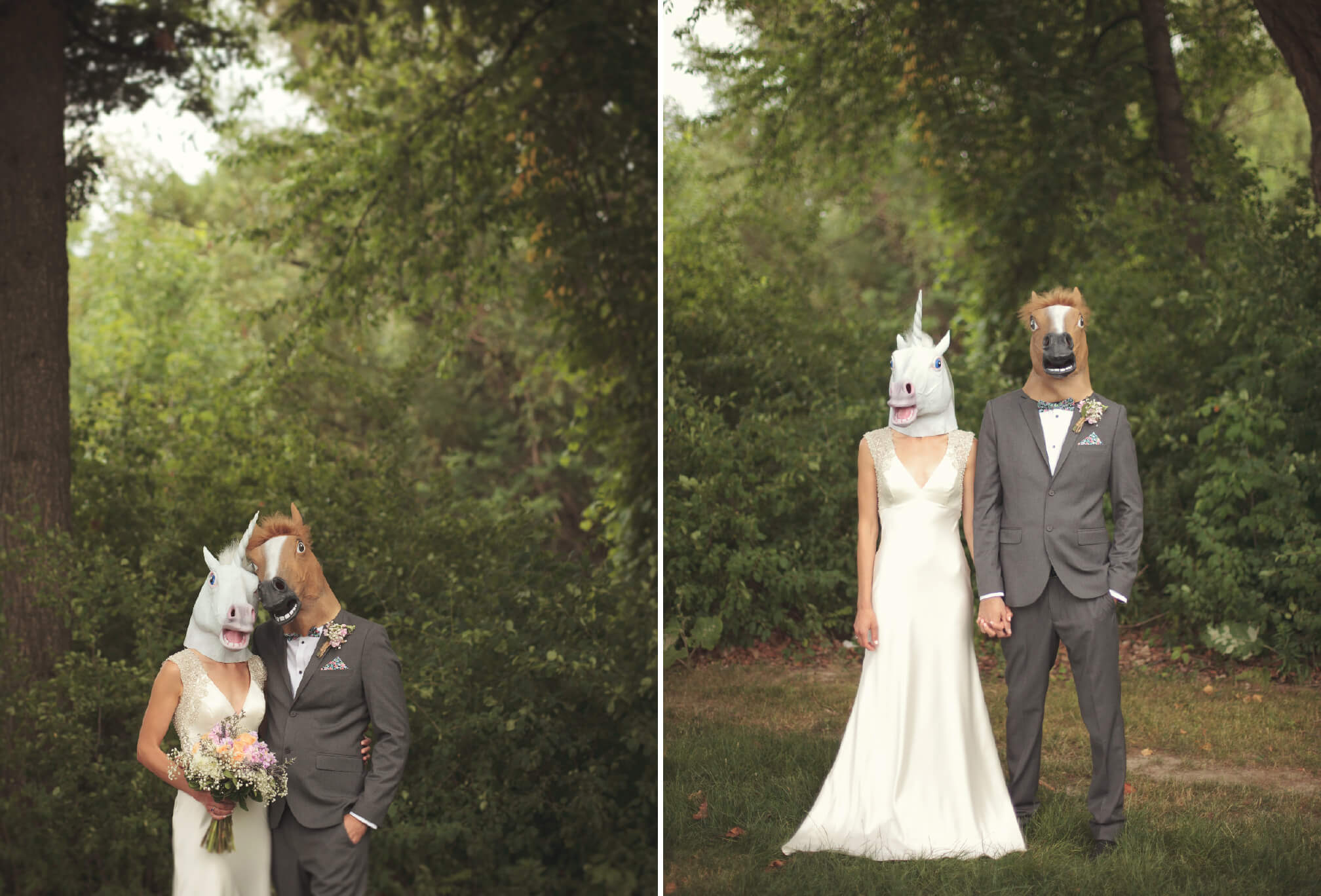 bride and groom funny masks wedding photography