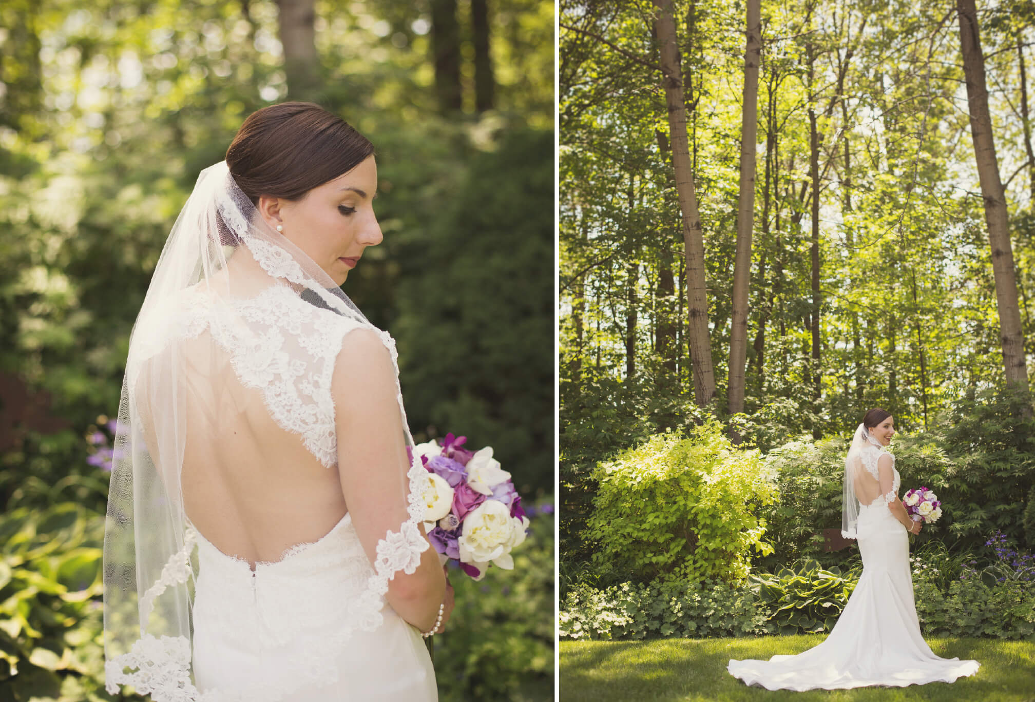bride with majestic forest background
