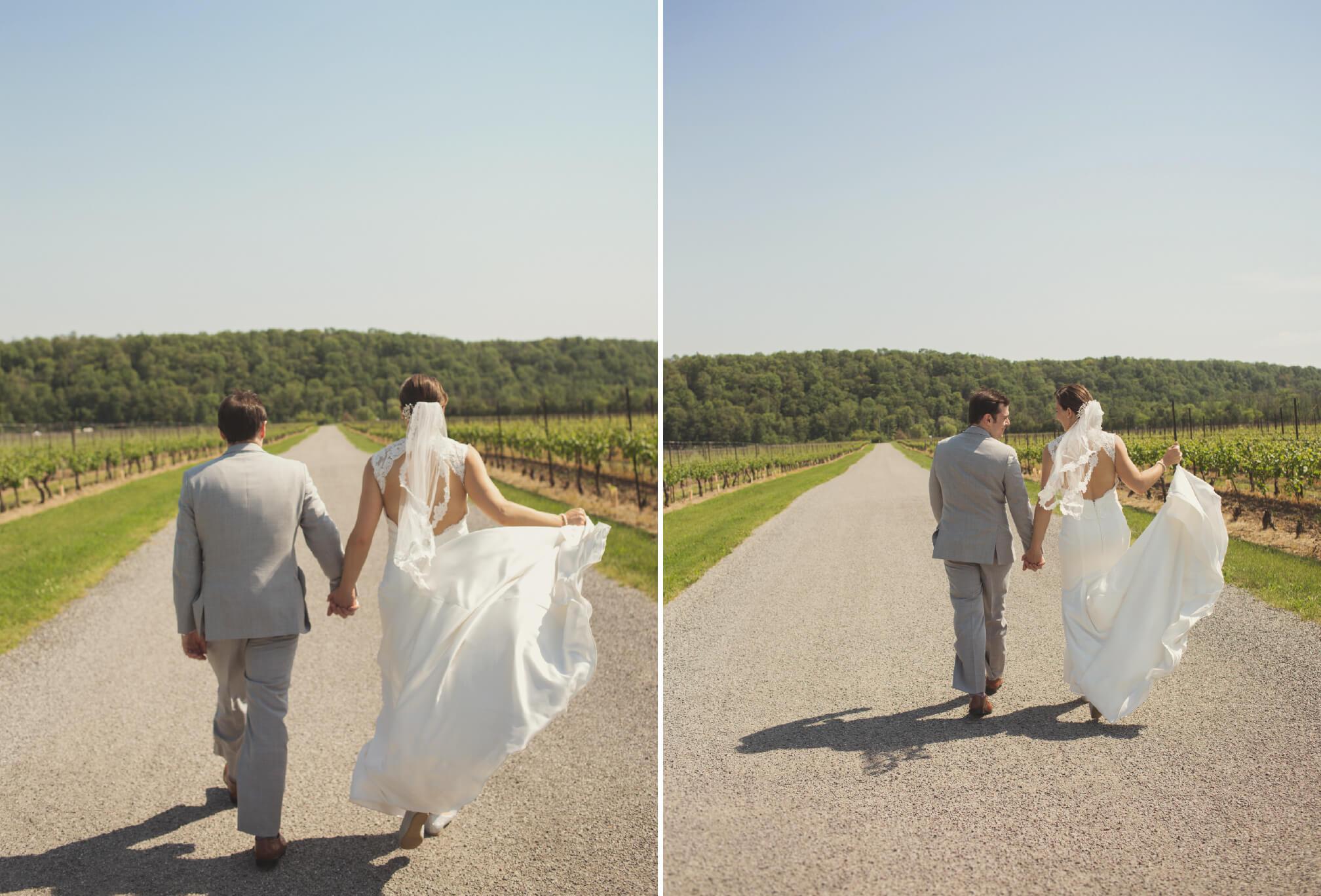 bride and groom walking cave springs winery