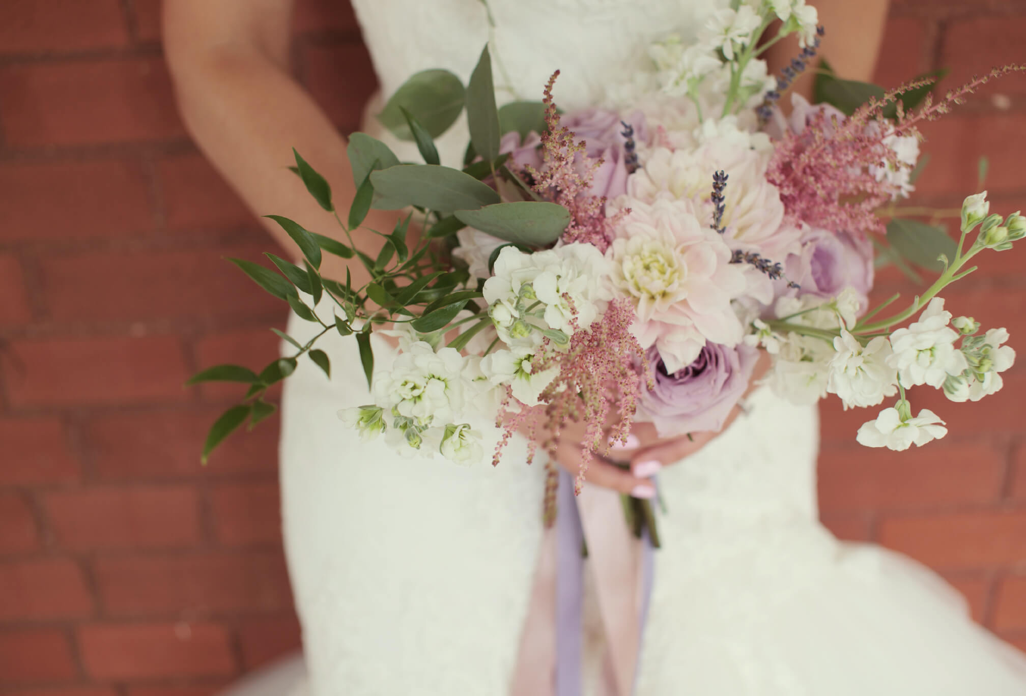 pink white green bouquet