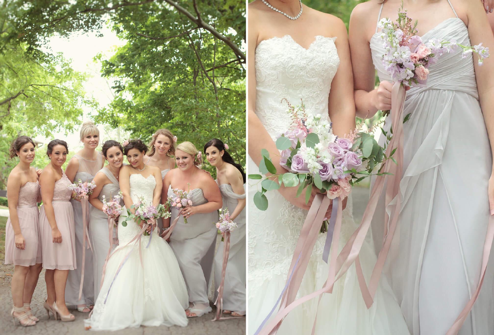 pink and mauve bridesmaids