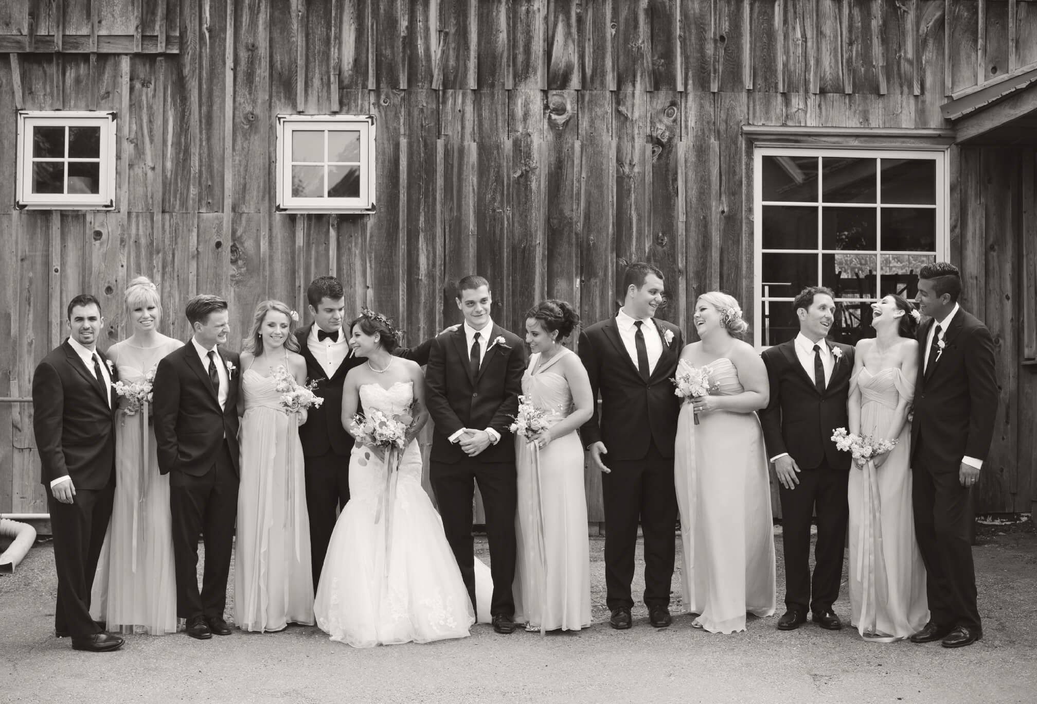 bridal party knollwood golf club barn