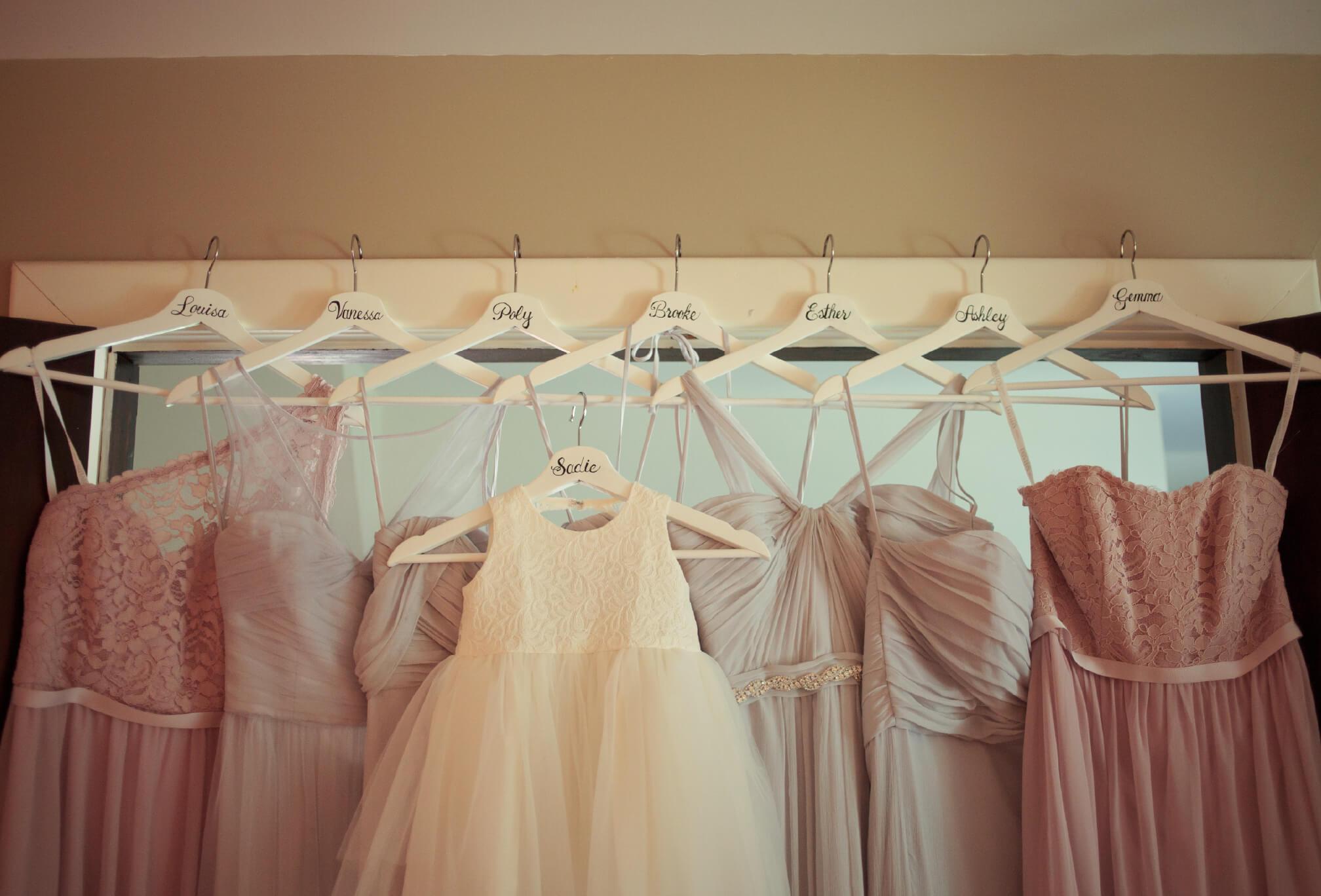 bridesmaids dress hanging knollwood golf club