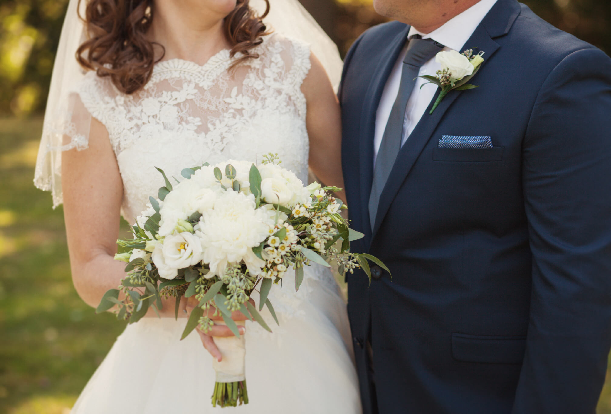 bride details lace dress blue suit