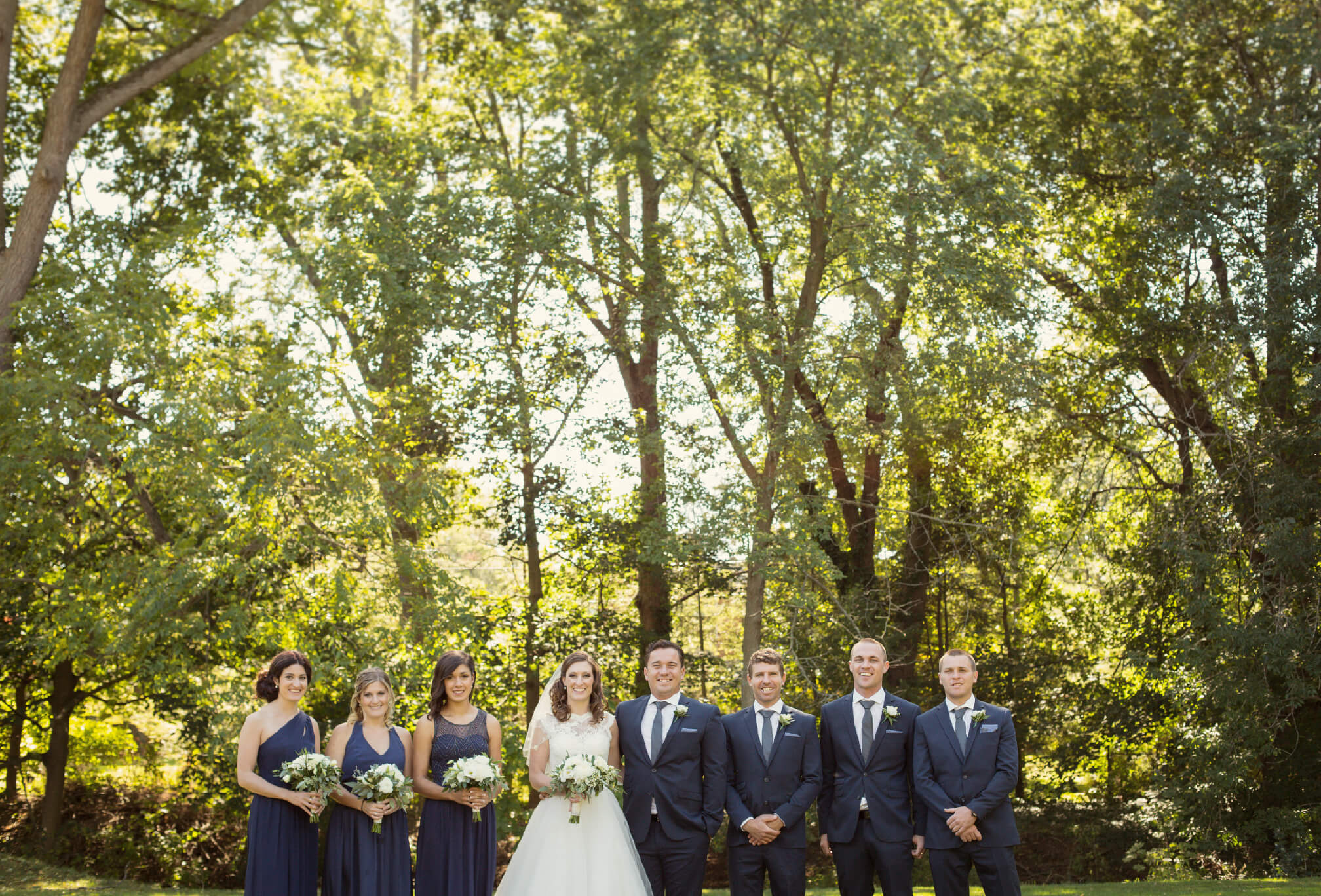 bridal party blue and green