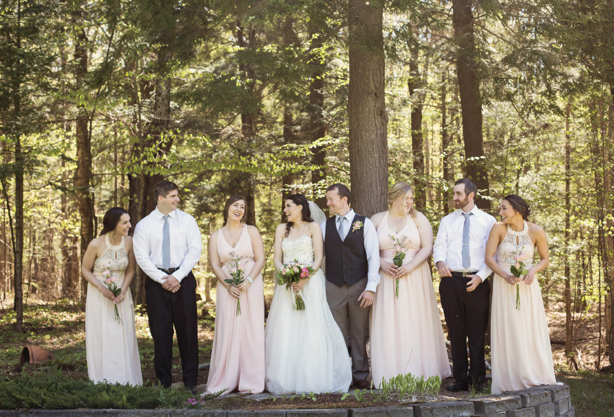pink wedding party forest wedding