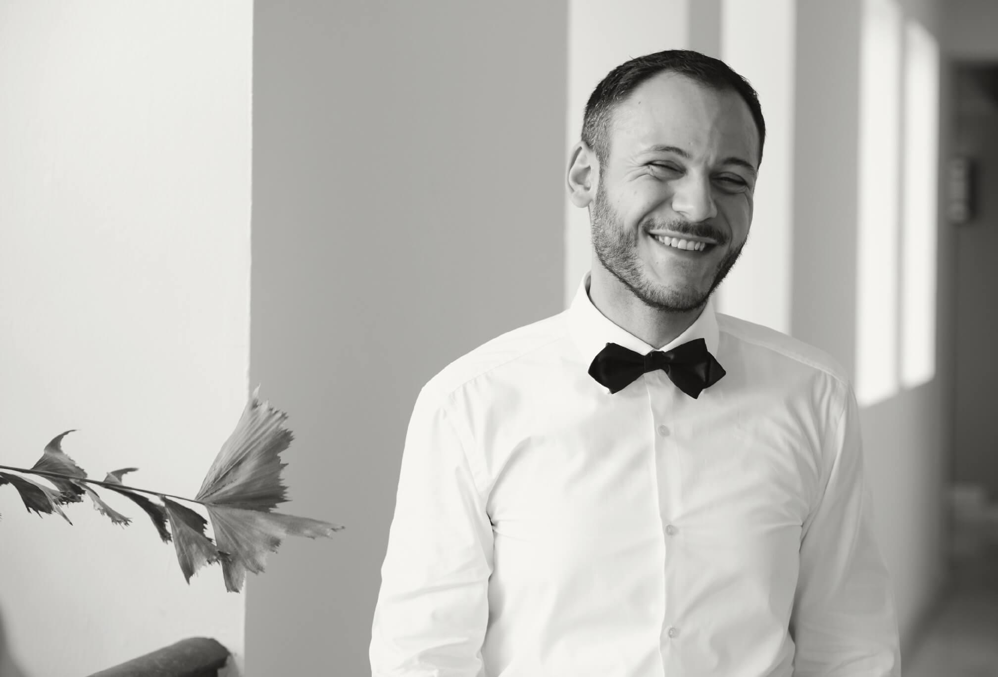 groom in bowtie destination wedding
