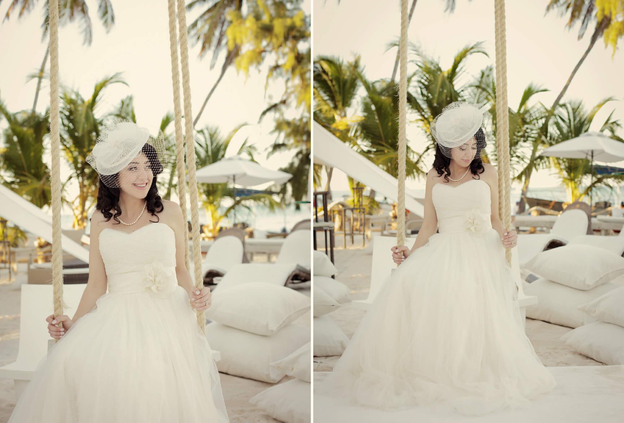 vintage bride on beach