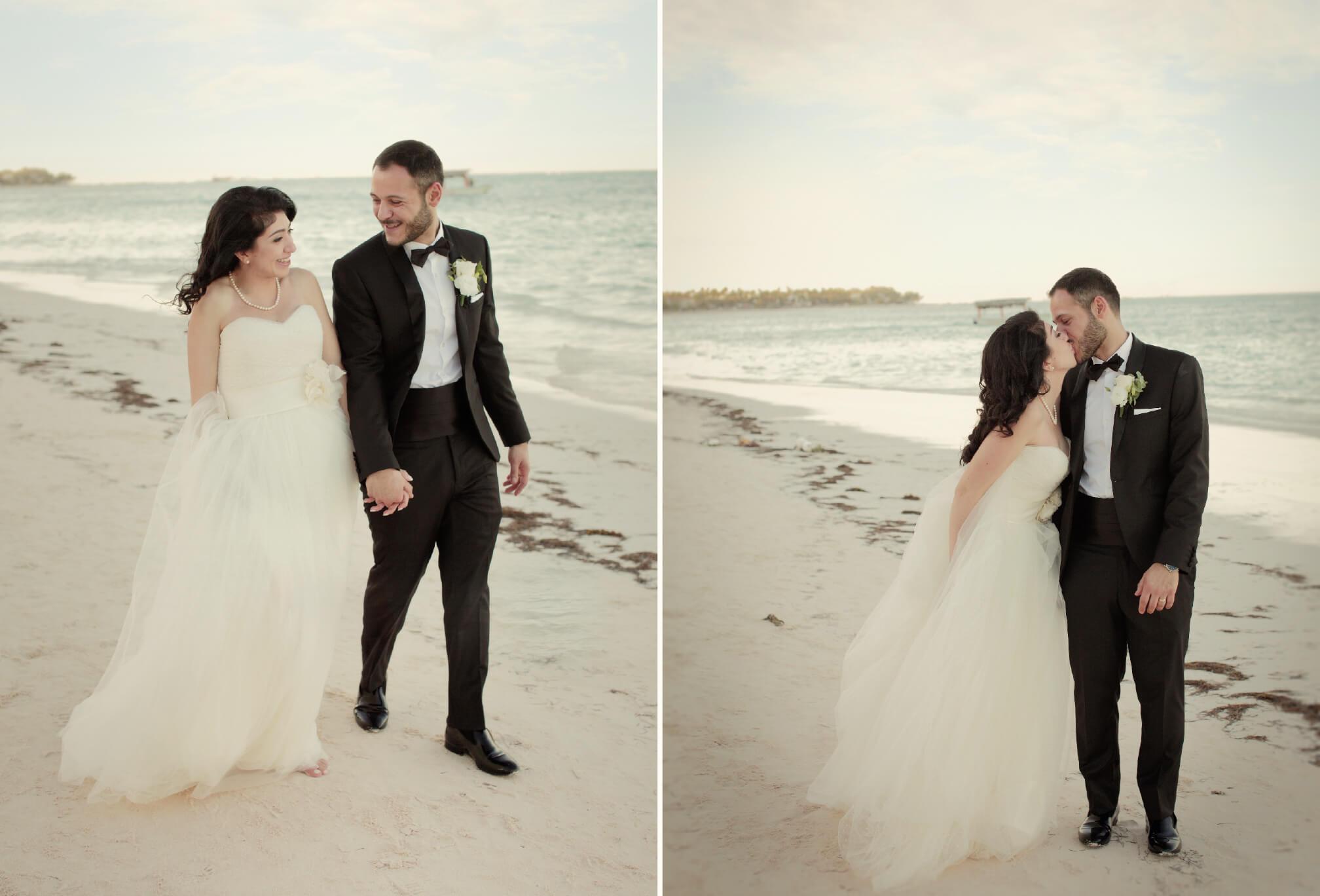bride ans groom walking beach punta cana