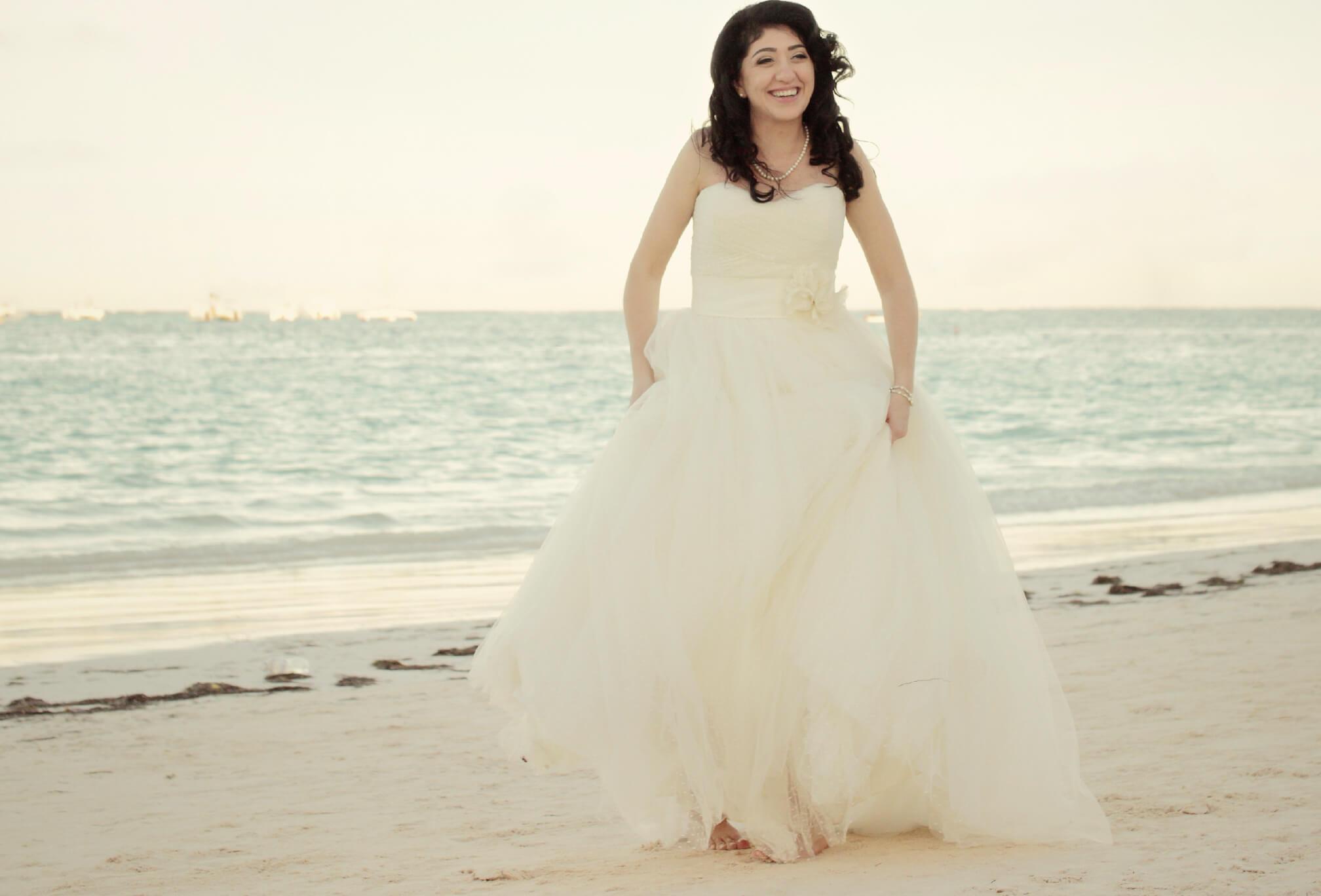 cute bride on beach