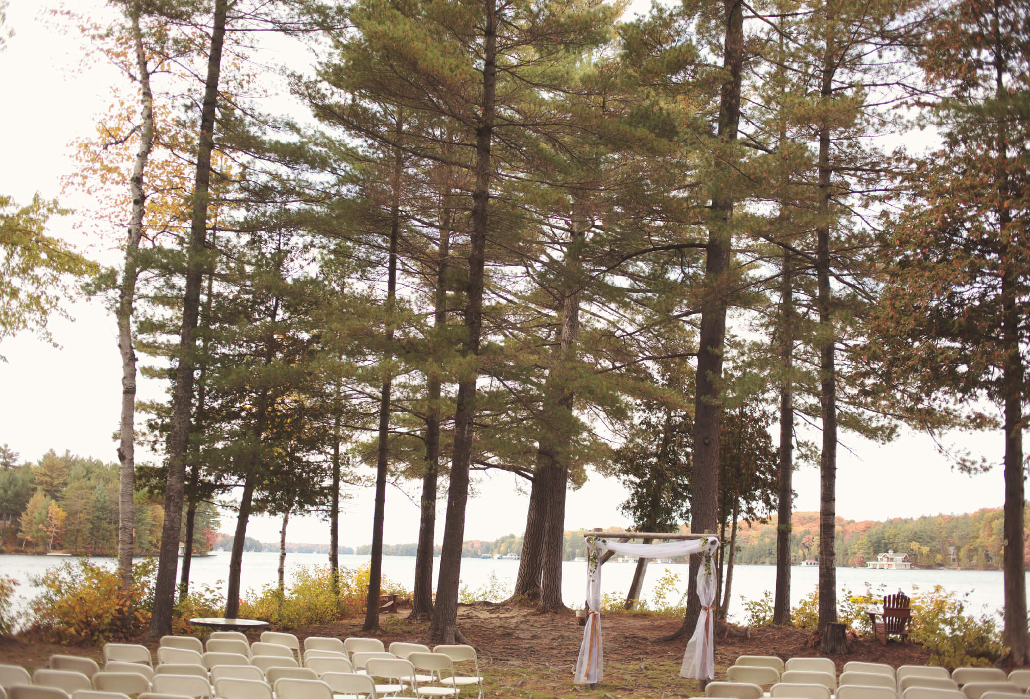 lakeside wedding ceremony arbor