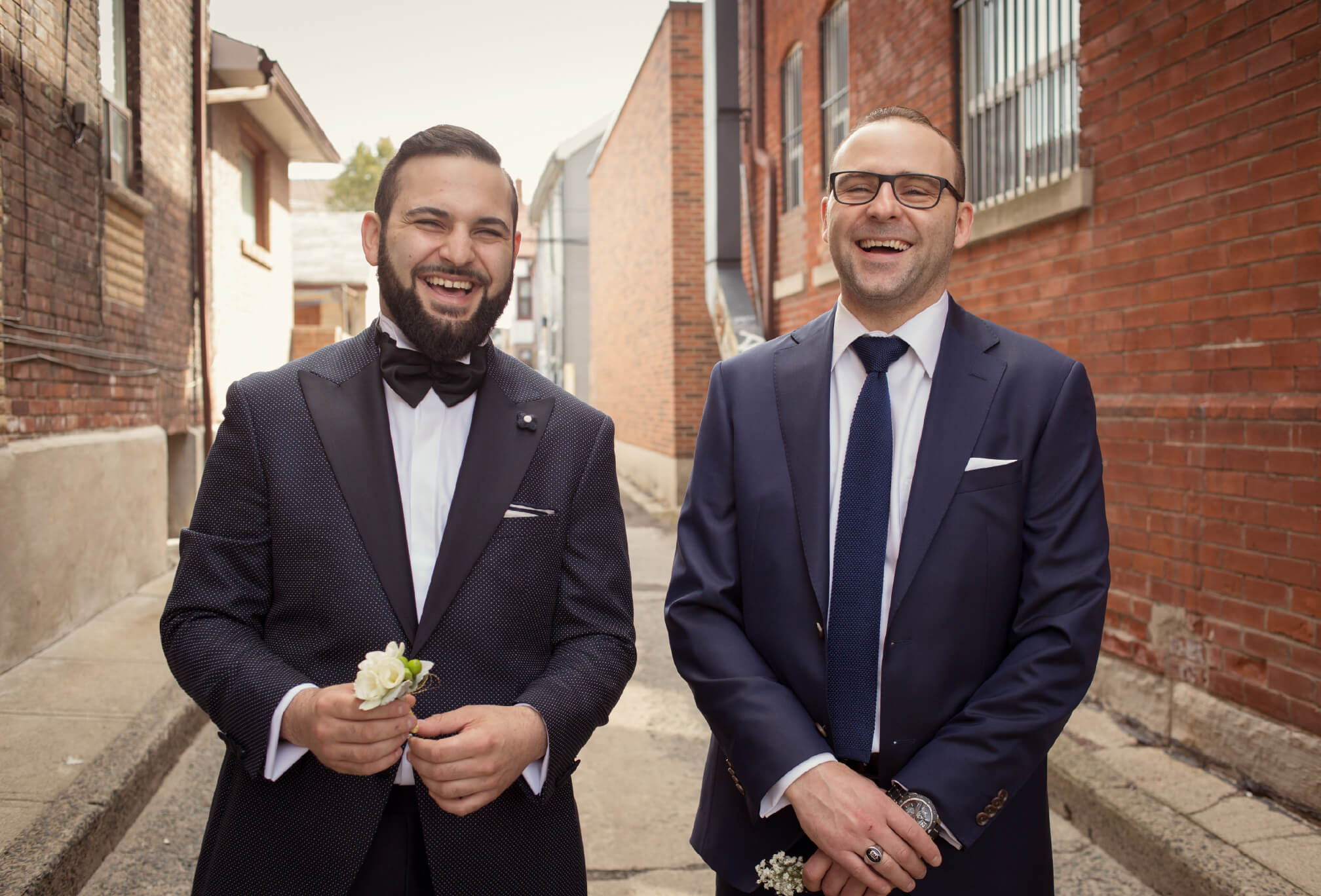 groom and best man in alley toronto