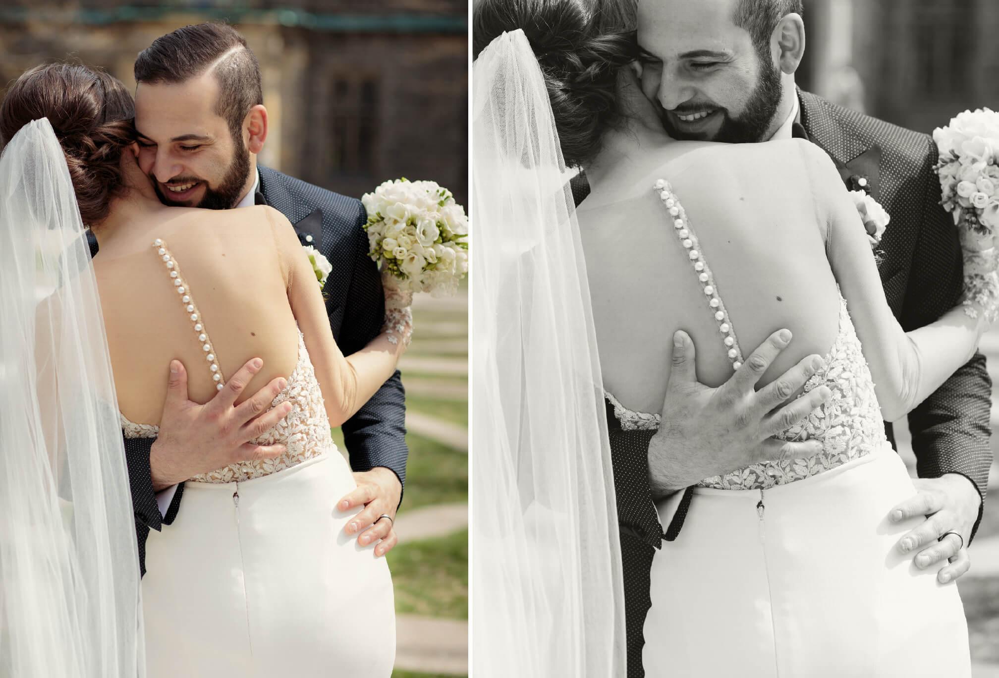 bride and groom hugging laughing