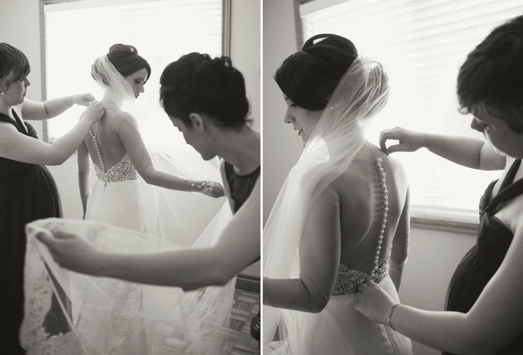 bride getting ready with sisters