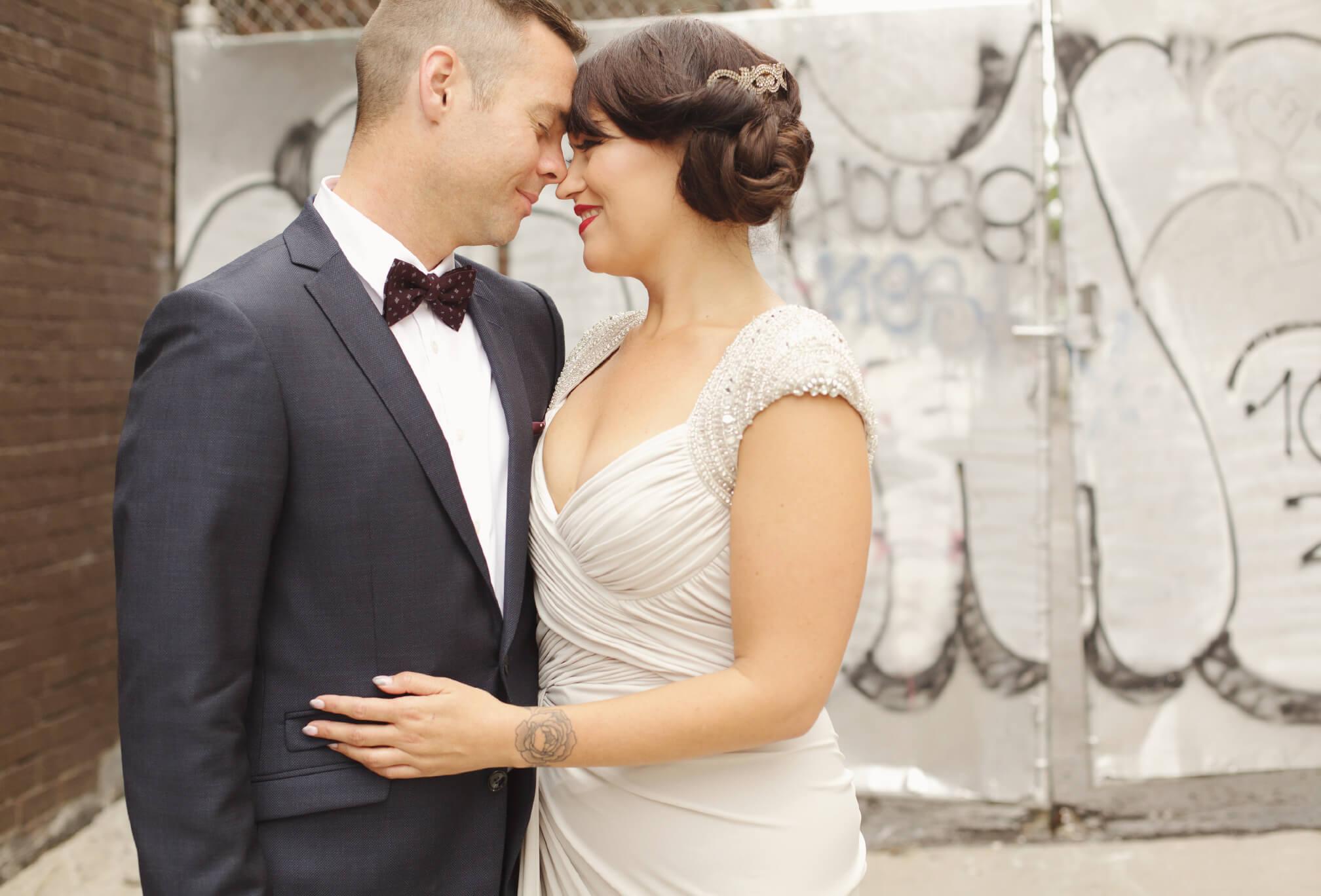 bride and groom grafitti toronto