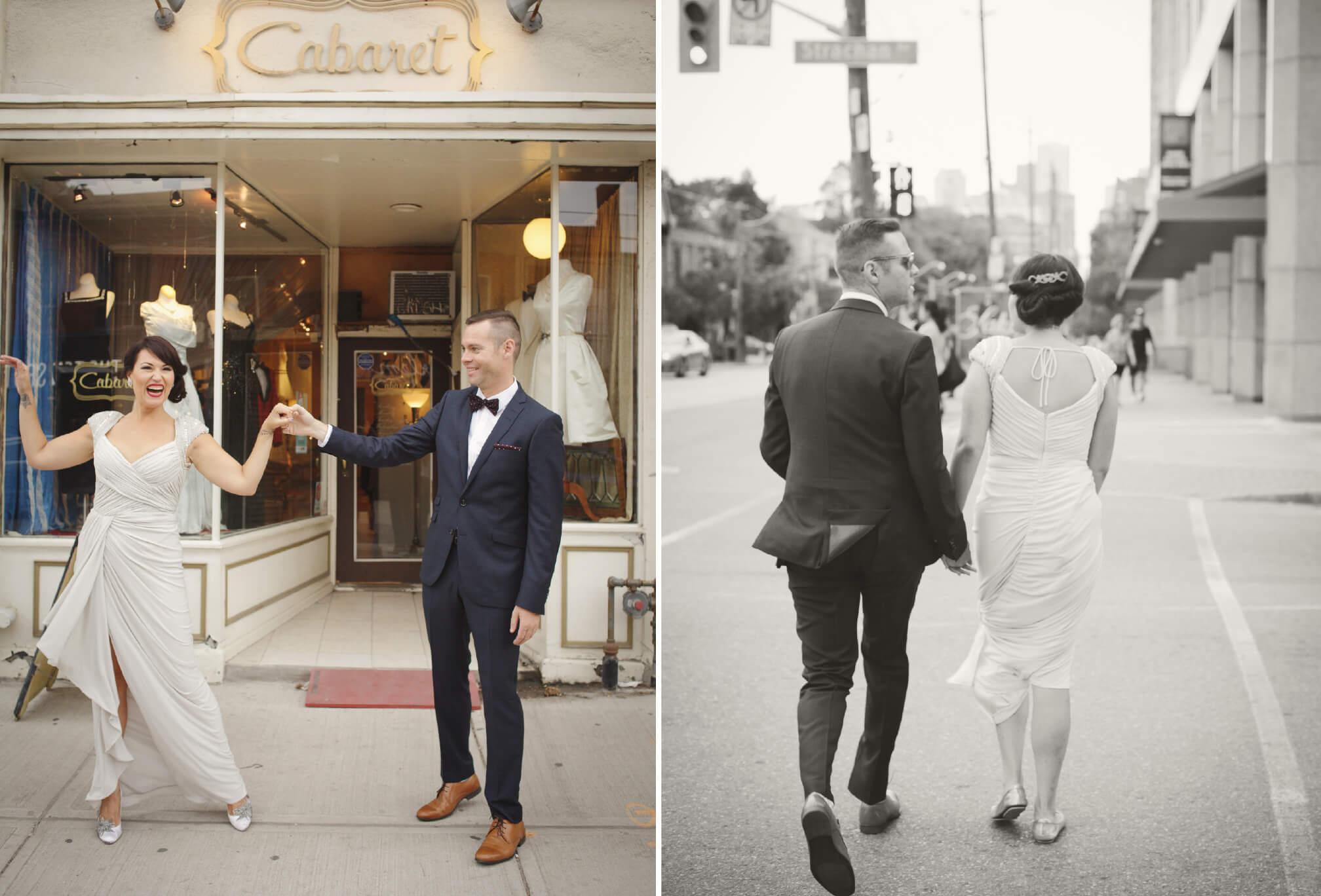 bride and groom dancing on queen street west