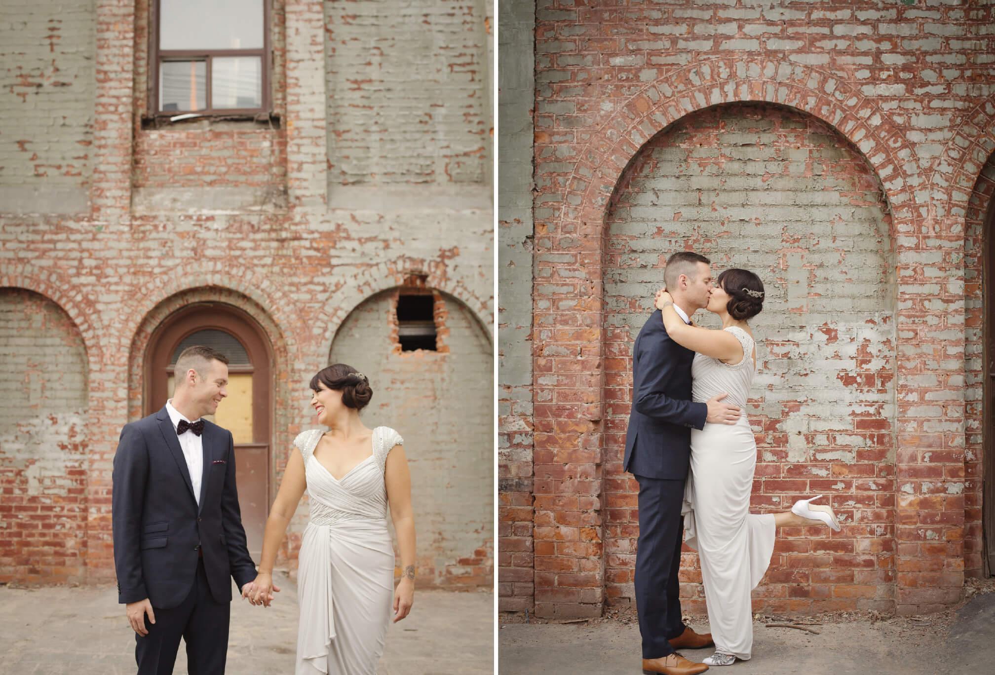 bride and groom brick wall toronto
