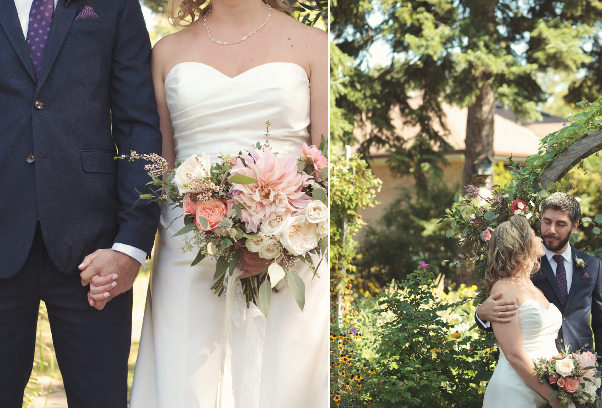 flower arbor wedding backyard wedding
