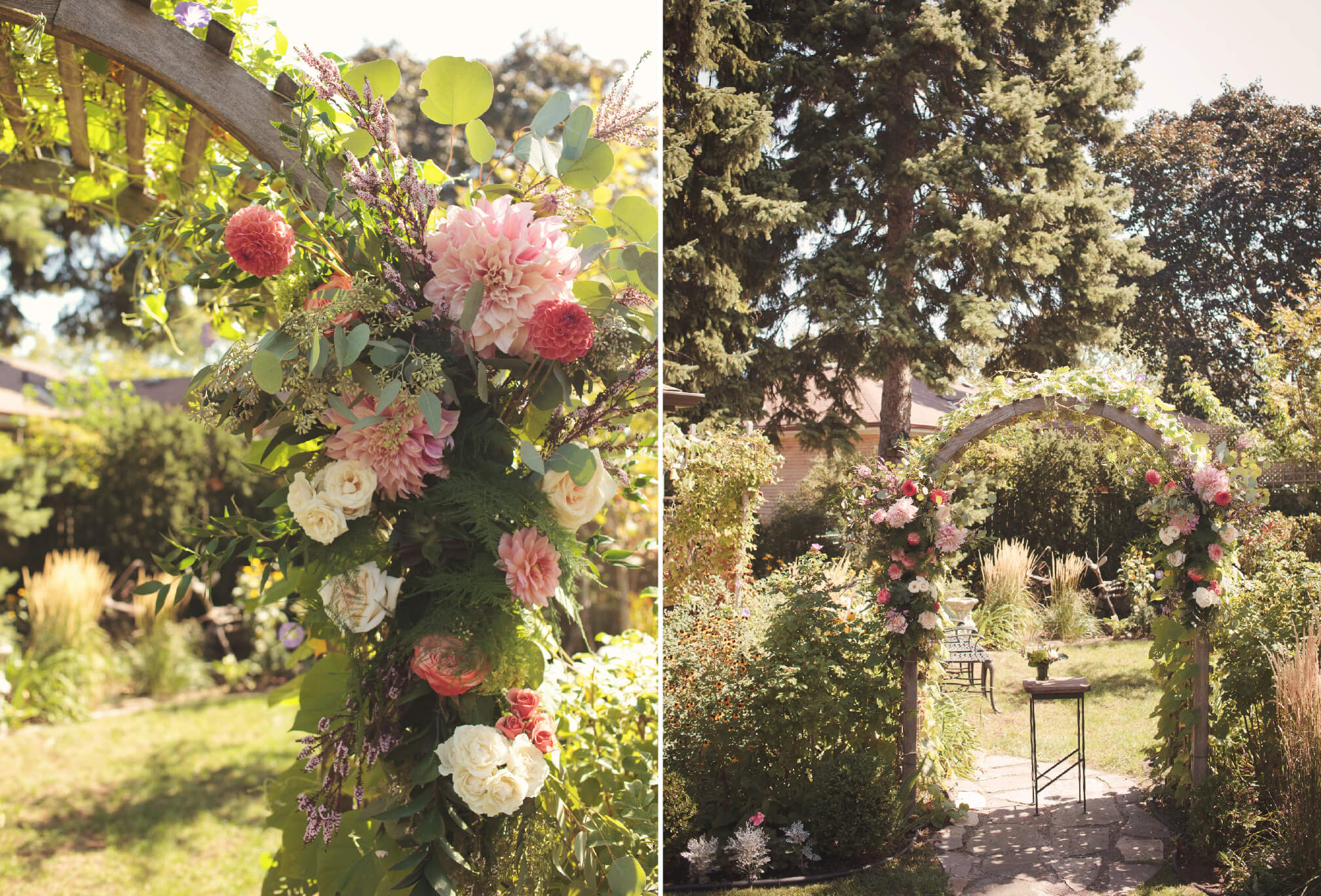 flower arbor backyard wedding