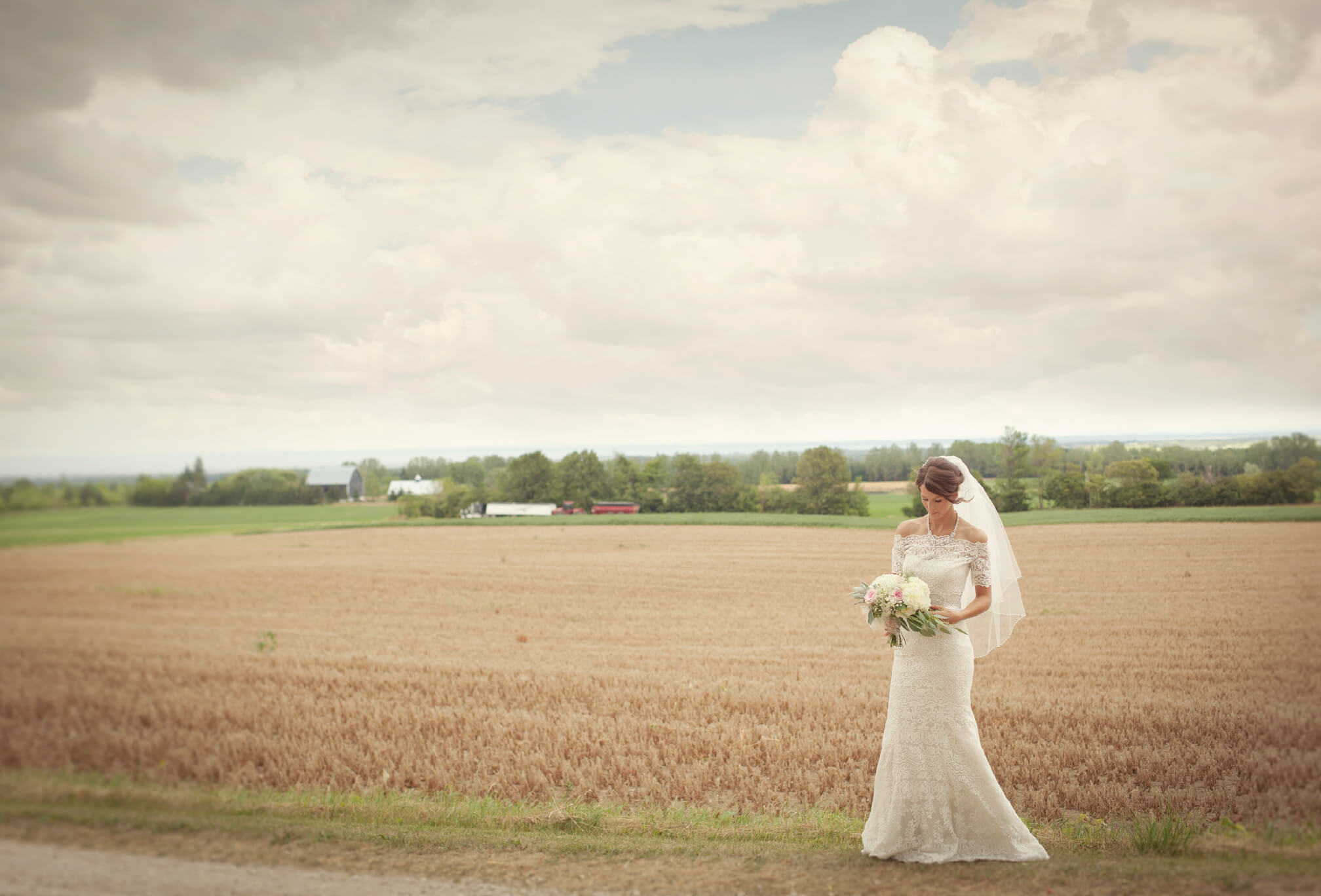 rustic bride on farm blue mountains