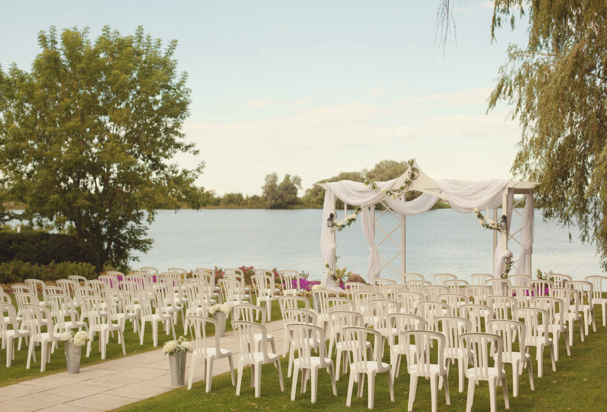 ceremony by water at bear estate
