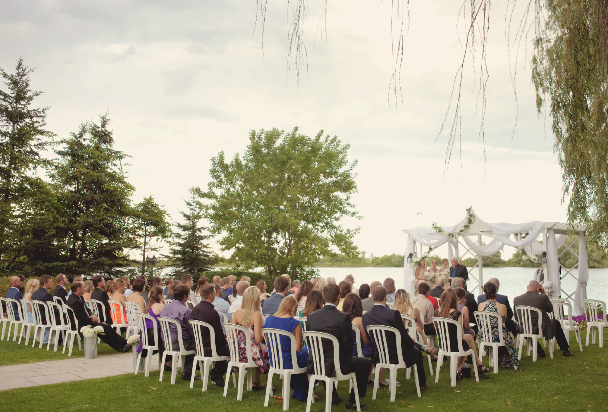 guests at waterfront ceremony bear estate collingwood