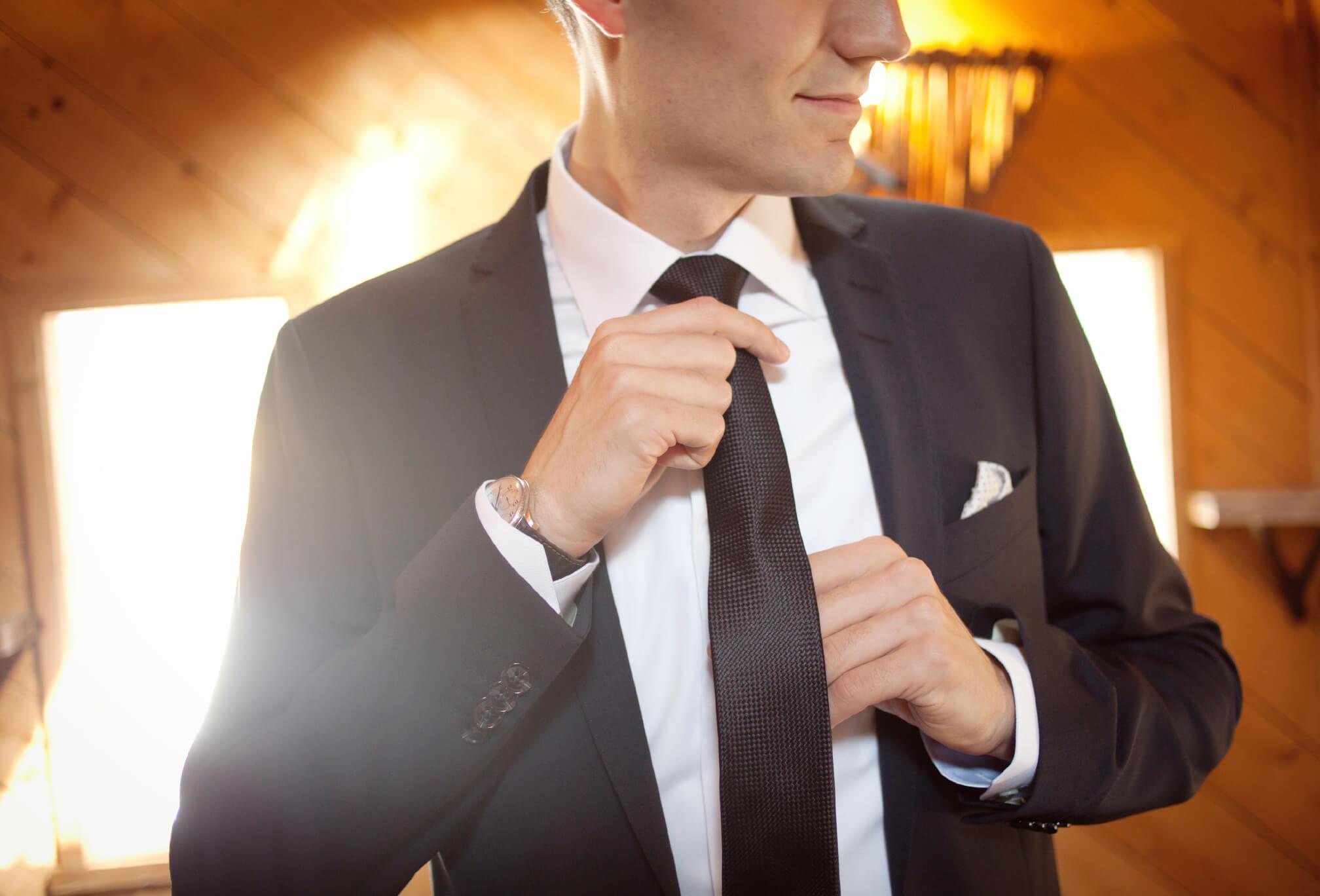 groom style black suit