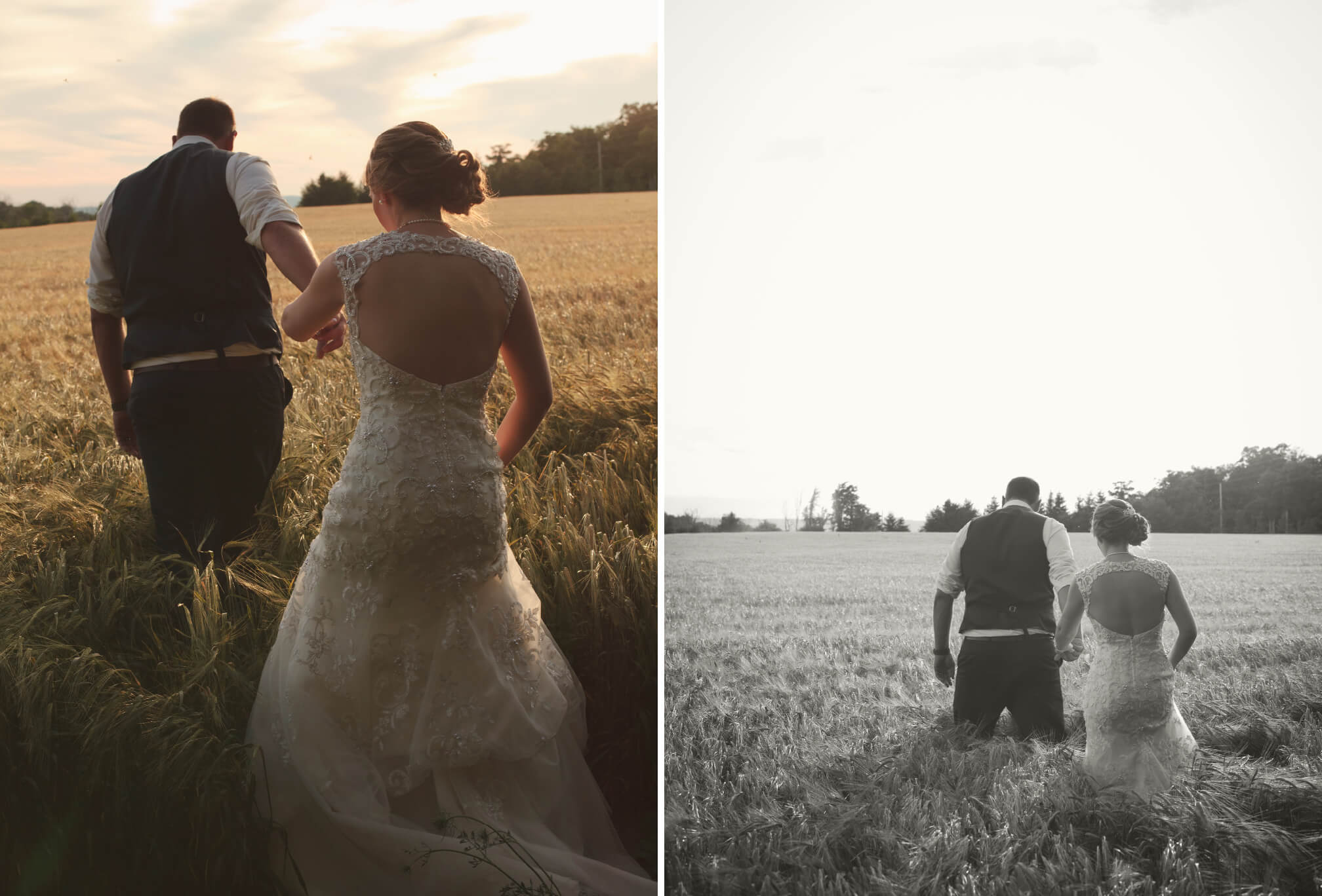 bride and groom sunset walking in field