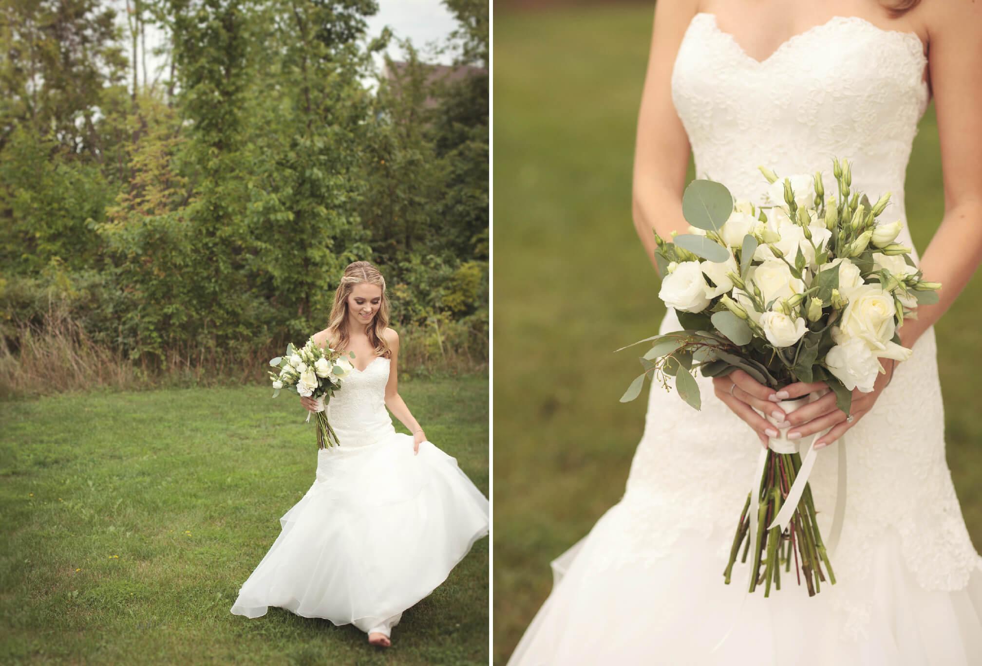 bride walking in forest collingwood