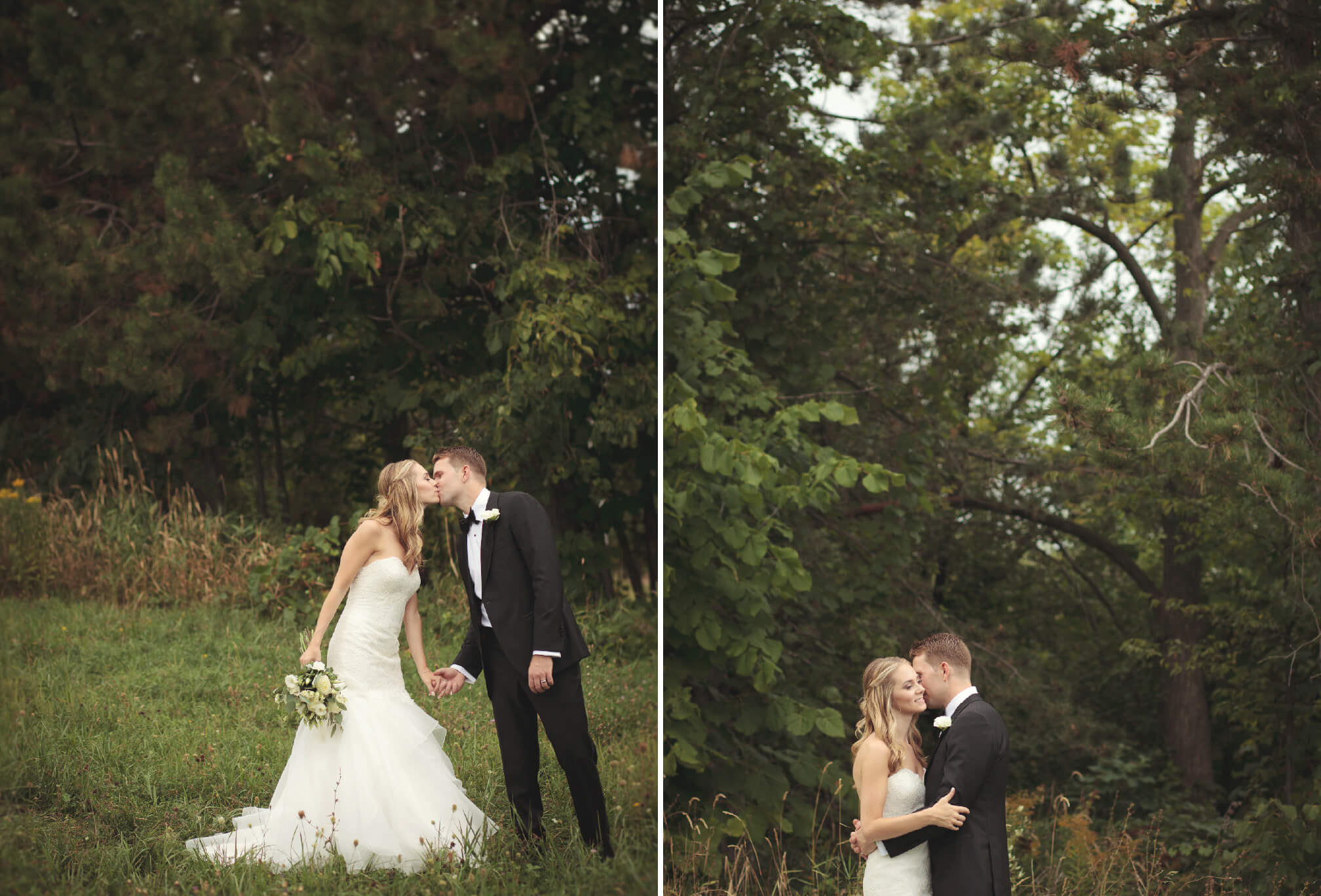 bride and groom kissing on blue mountain ontario