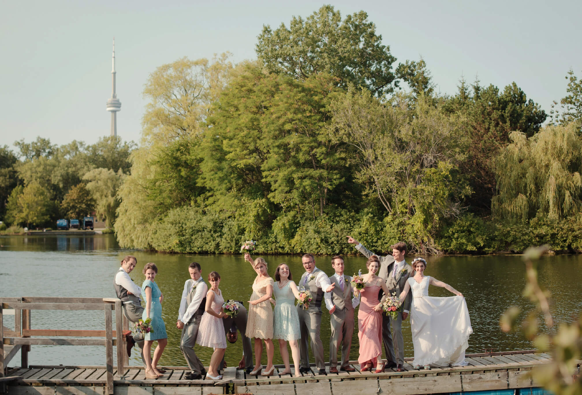 bridal party on dock toronto islands