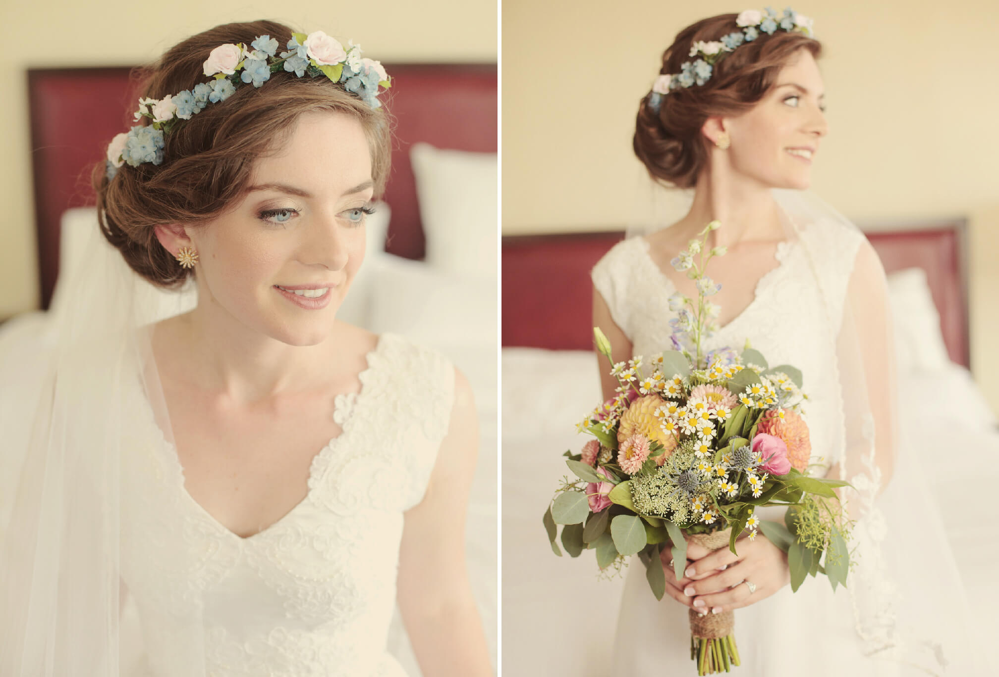 bride with flower crown lace dress
