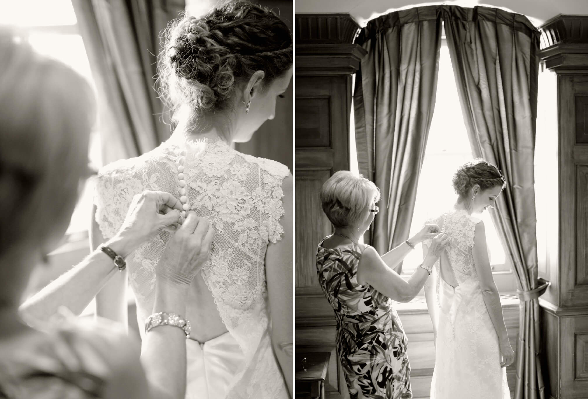 bride getting dress done up by mom black and white