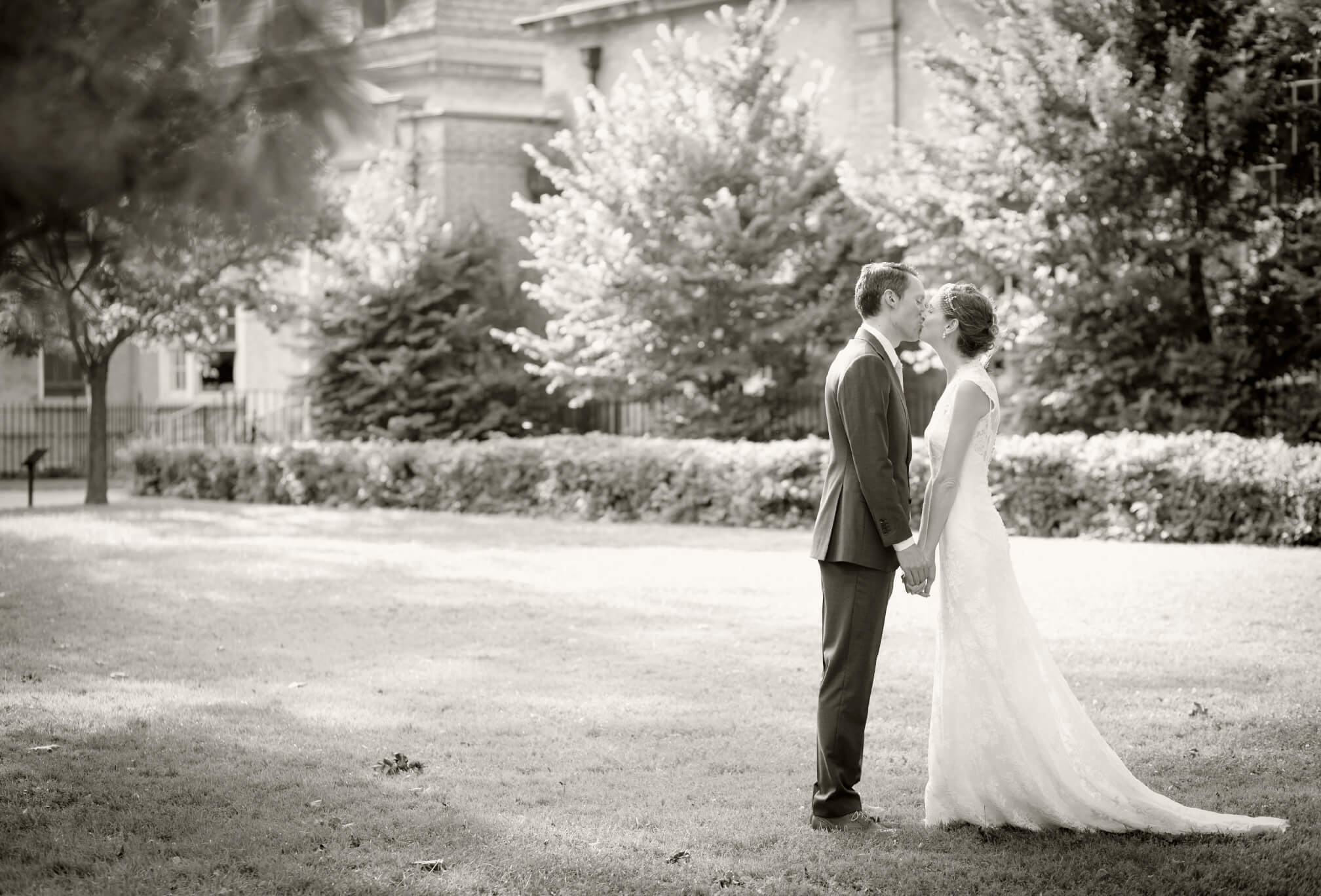 black and white bride and groom hart house