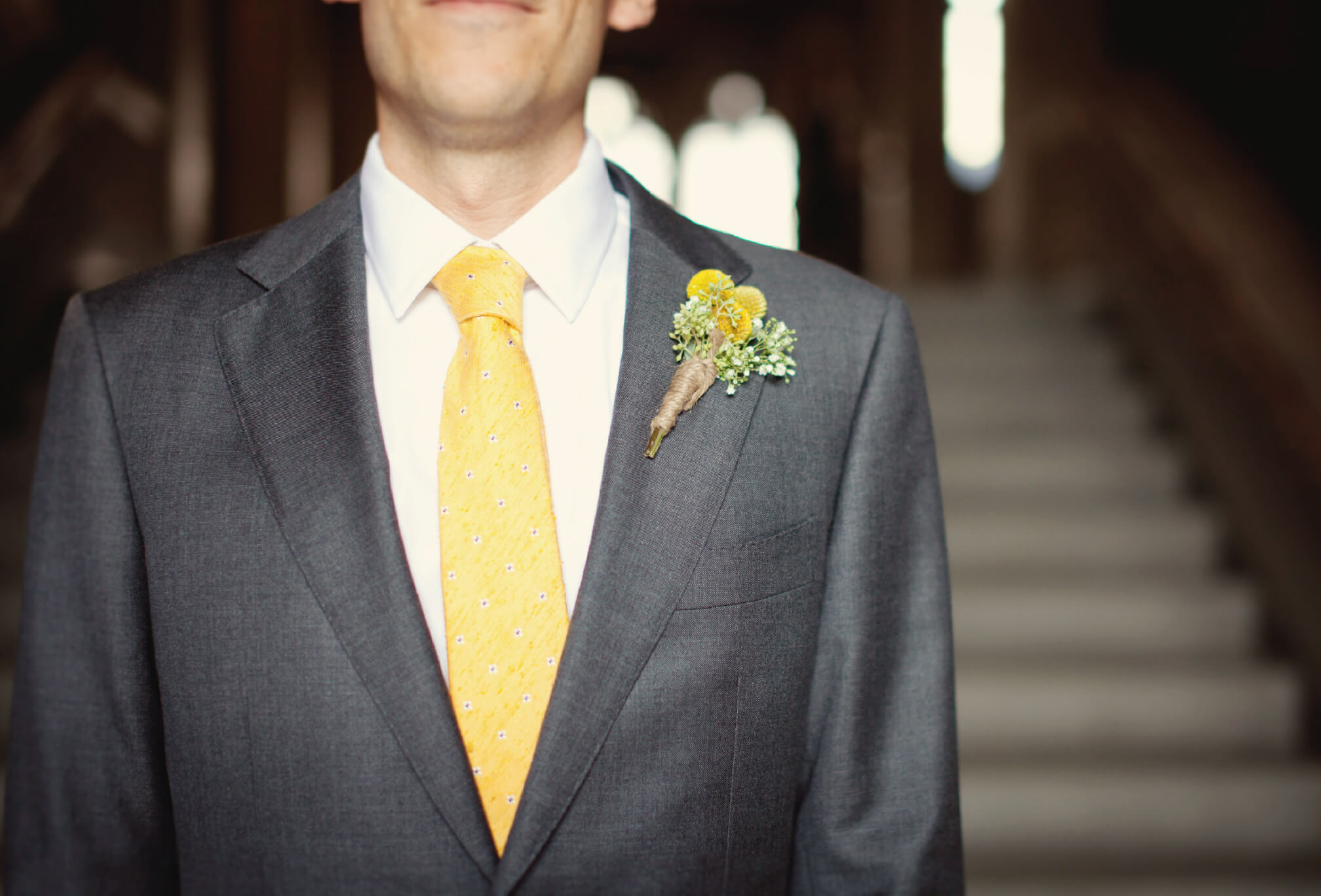 grey and yellow groom details