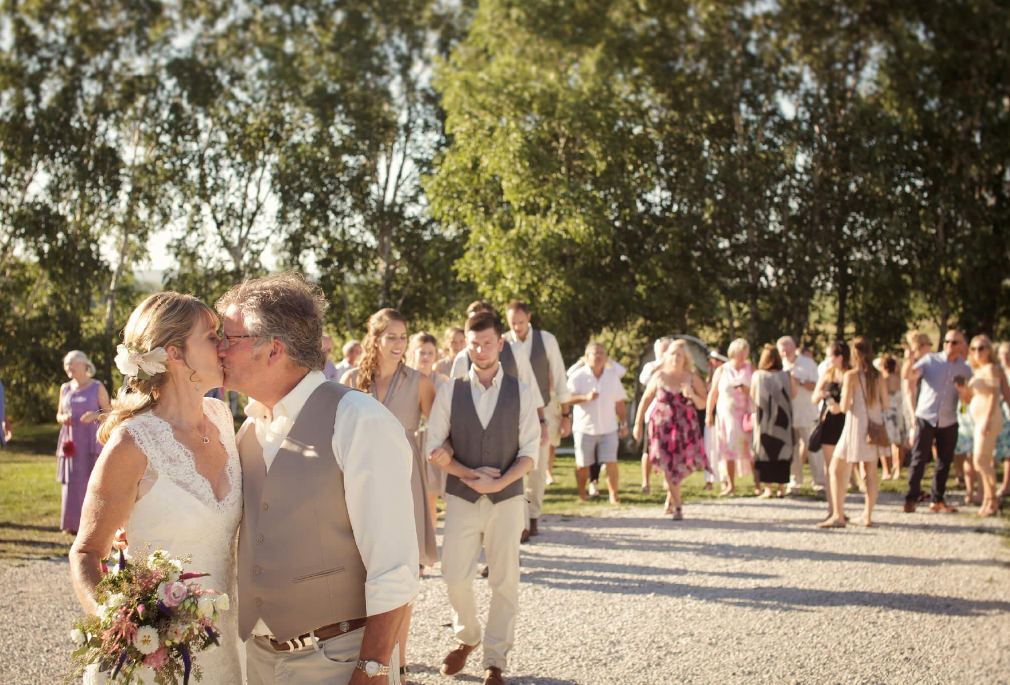 barn wedding first kiss ontario