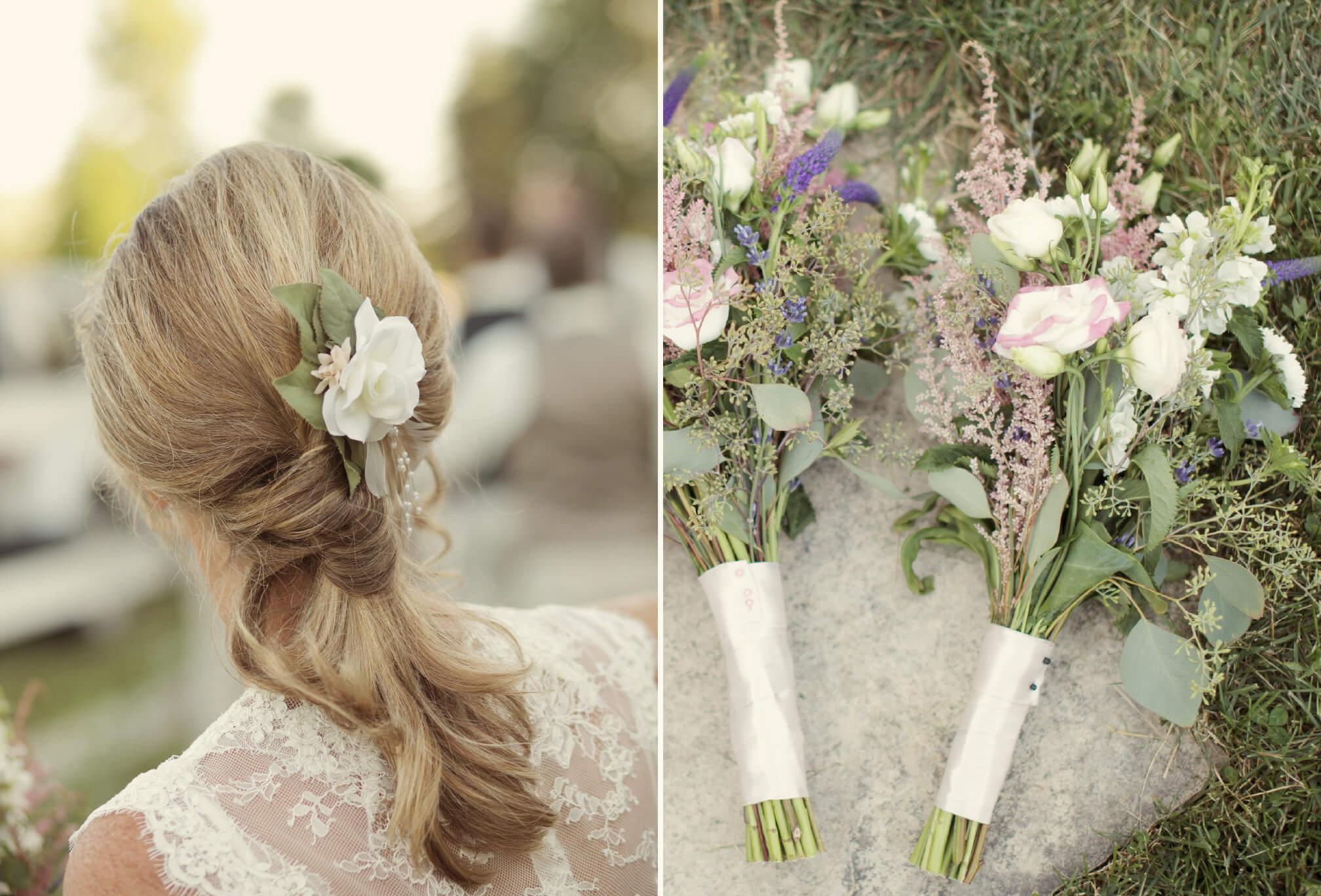 flower in hair bride country wedding