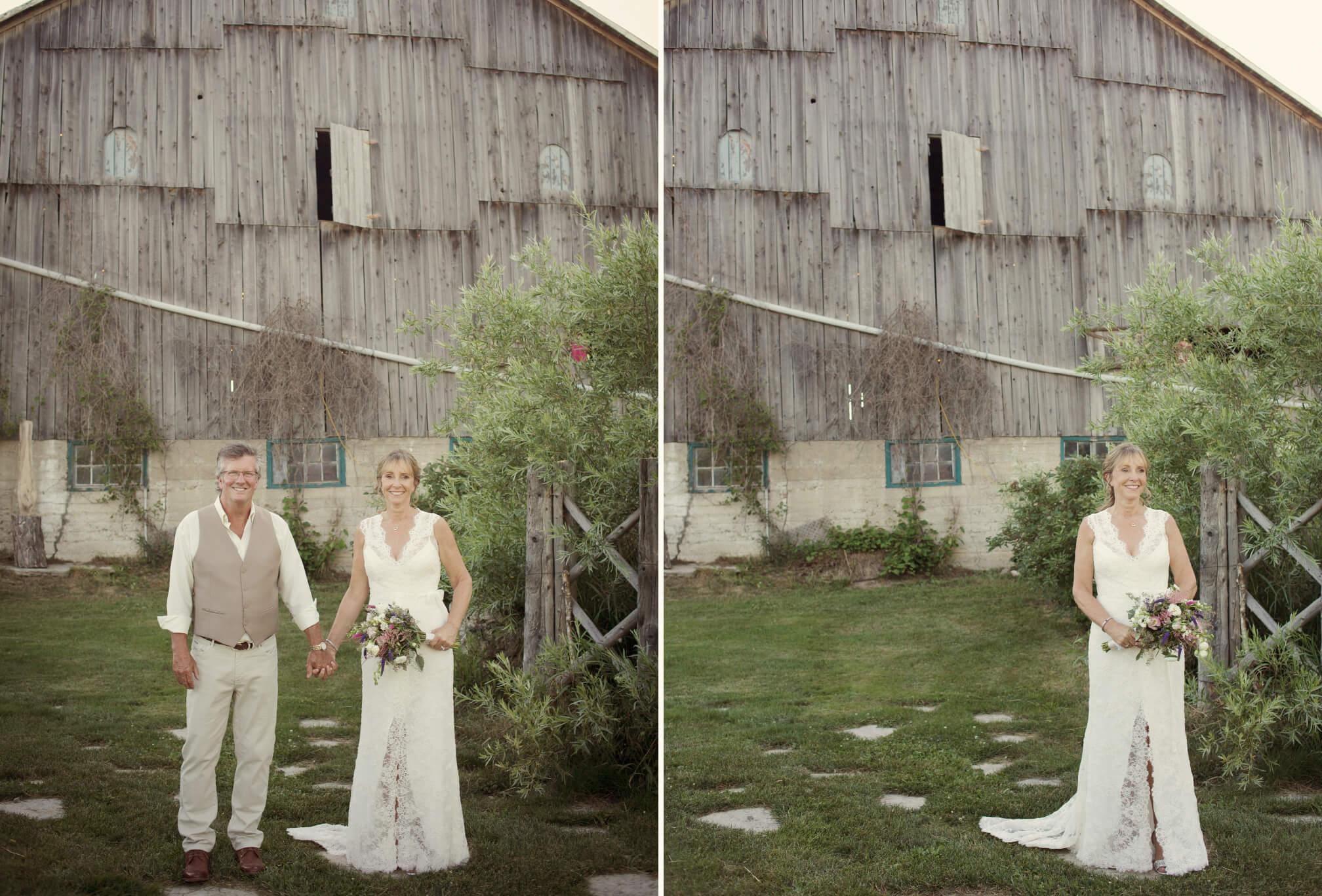 bride and groom barn wedding clarksburg ontario