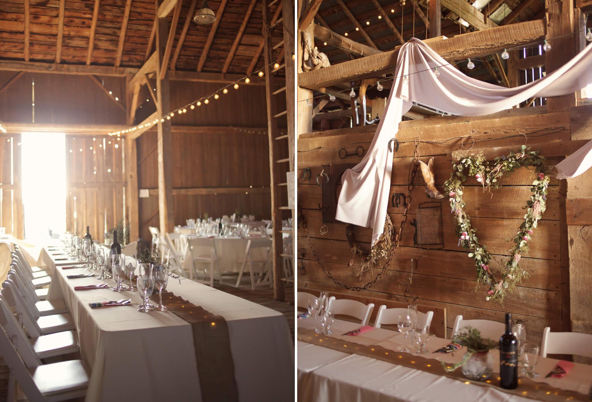 barn wedding decor blue mountains