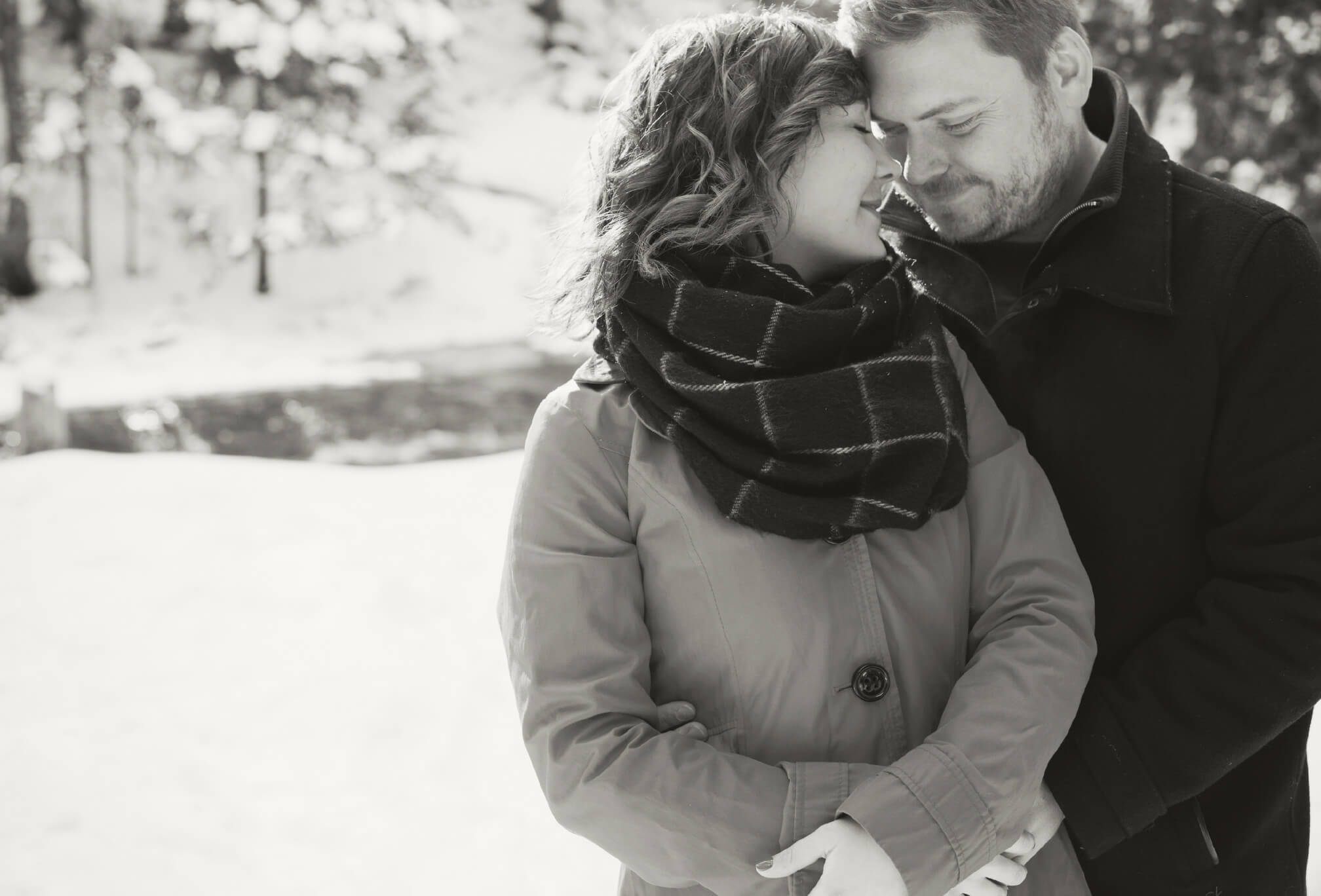 winter engagement black and white ontario