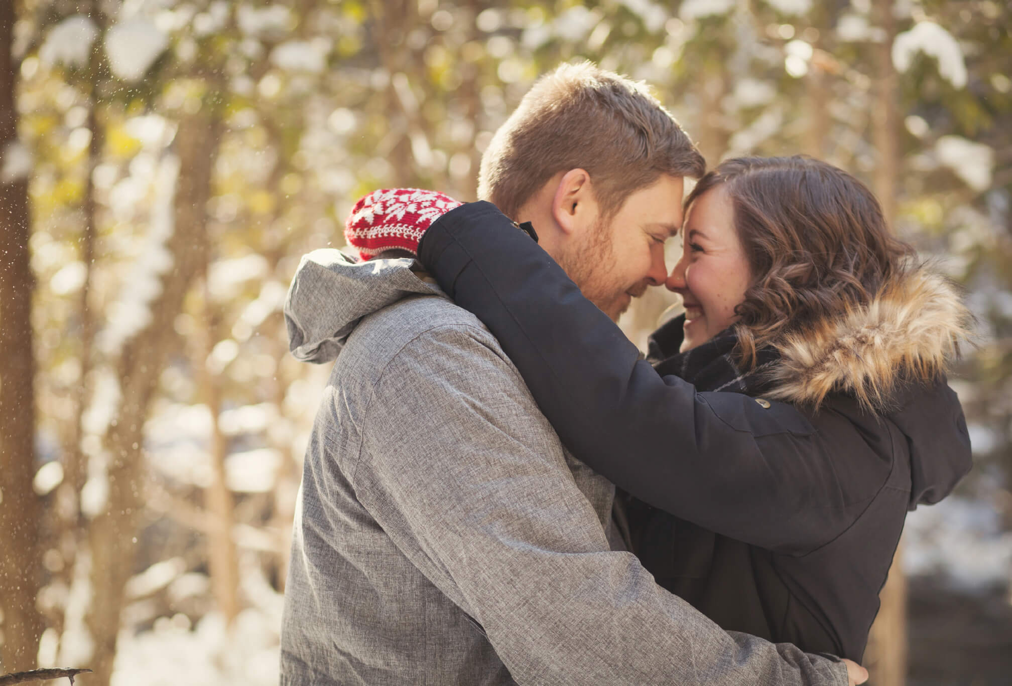 couple in winter engagement session in beaver valley