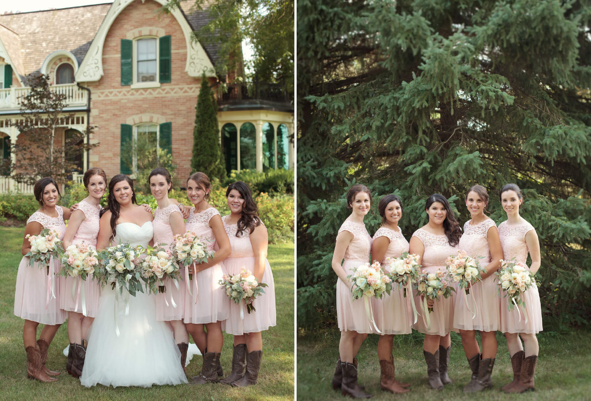 bride and bridesmaids western wedding ideas