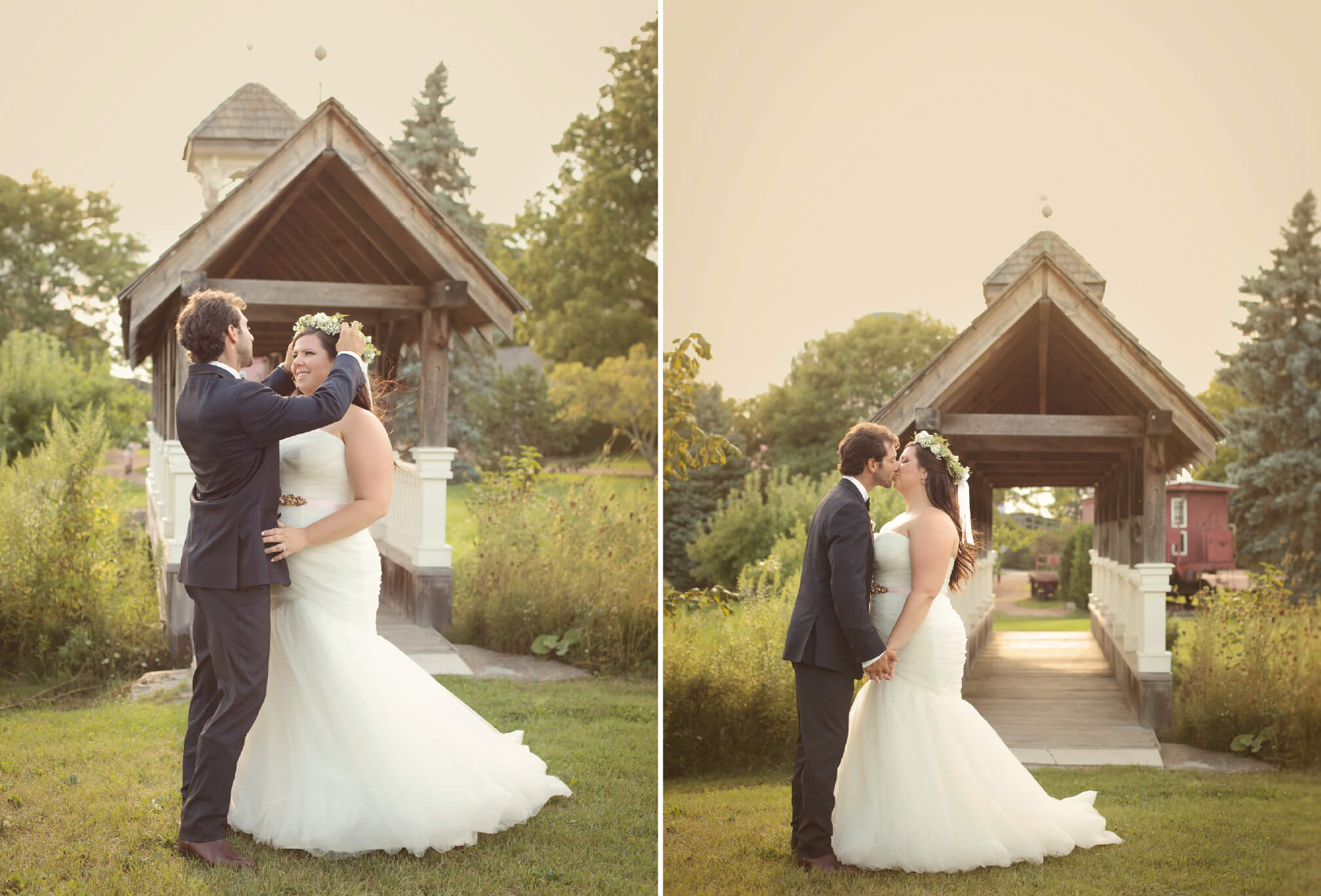 bride and groom at bridge belcroft estates