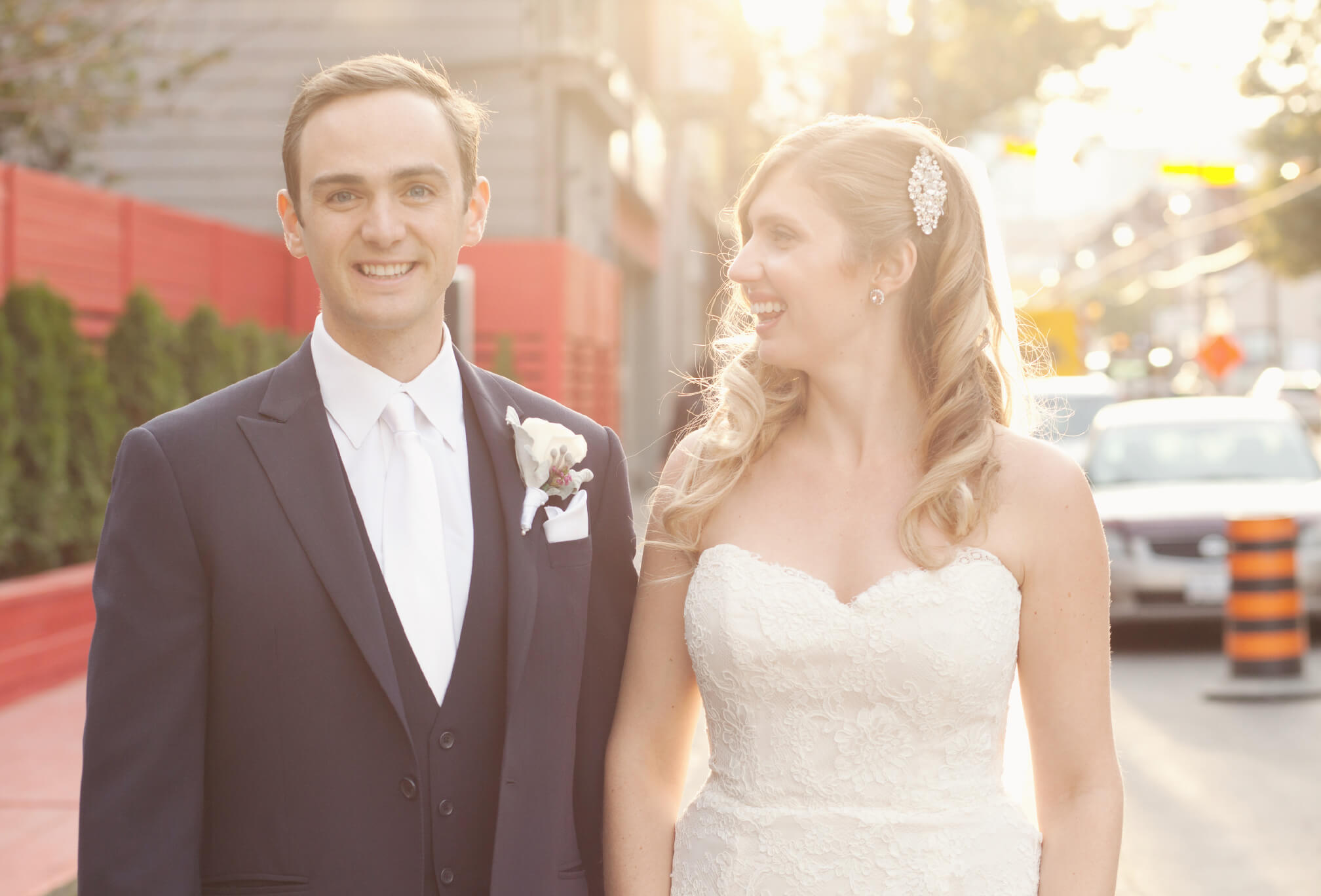 bride and groom photos outside berkeley church