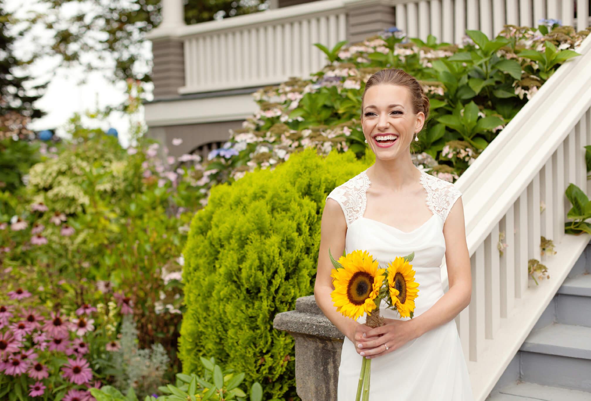 big smiling bride