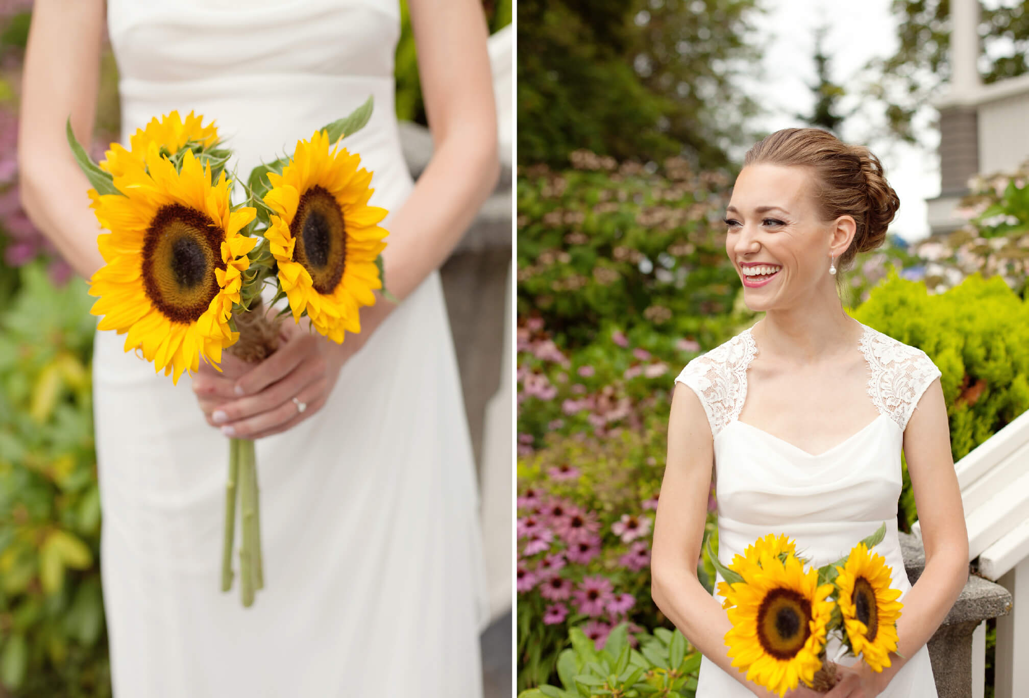 big smiling bride sunflower bouquet